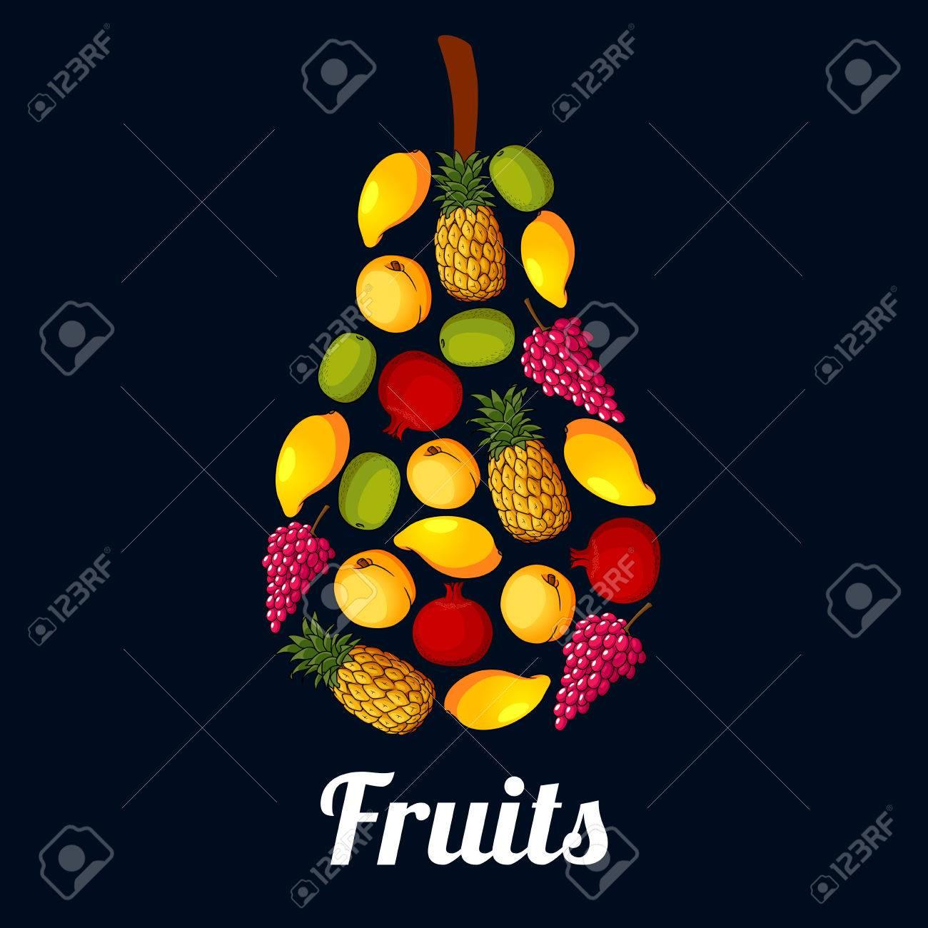 Pera Símbolo Compuesto Por Frutas Frescas. Dulces De Mango, Piña ...