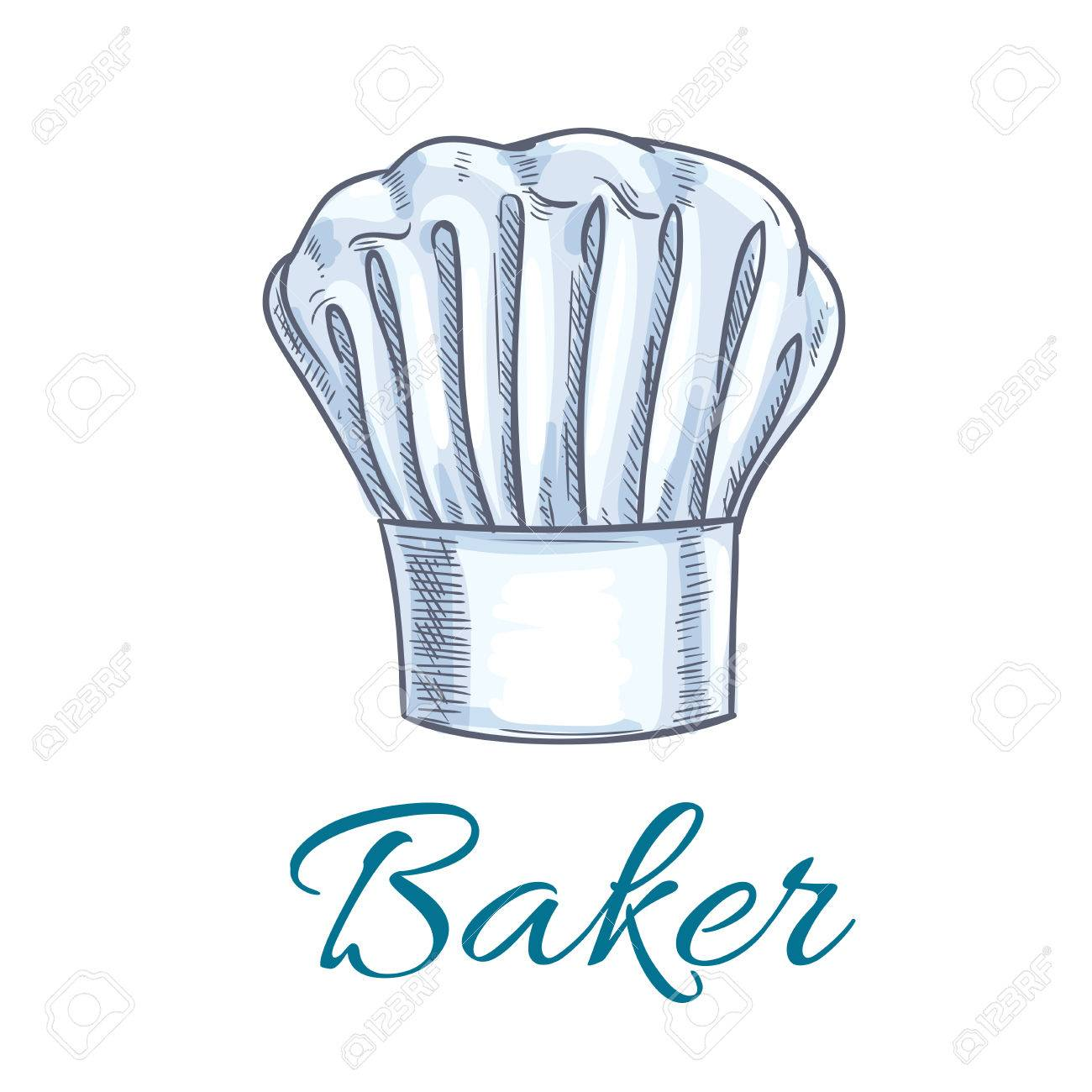 chef hat or baker cap sketch. white toque of a kitchen staff