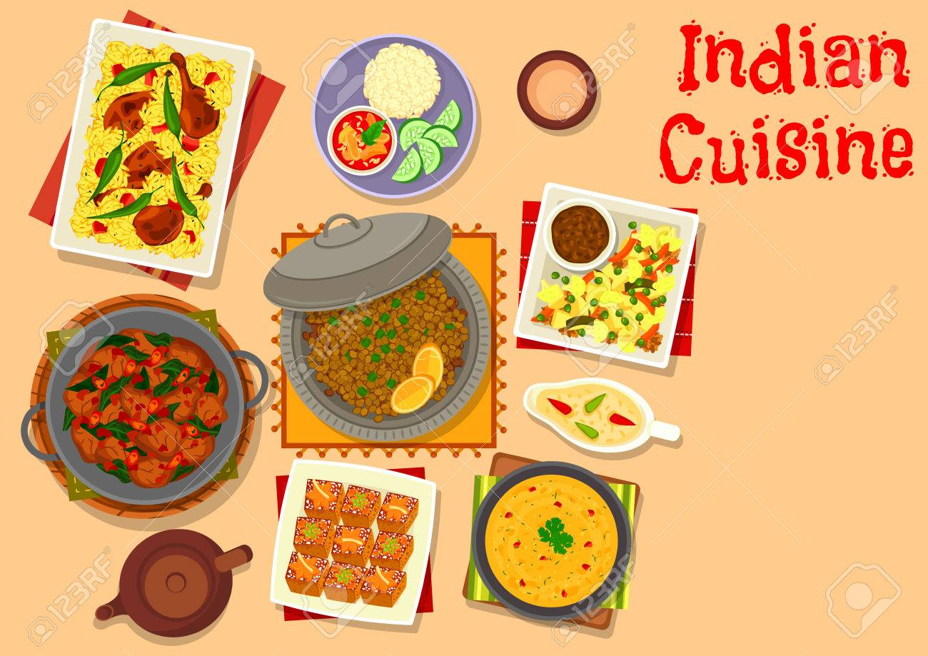 Indian Cuisine Dinner Dishes With Dessert Icon Of Lamb And Pork