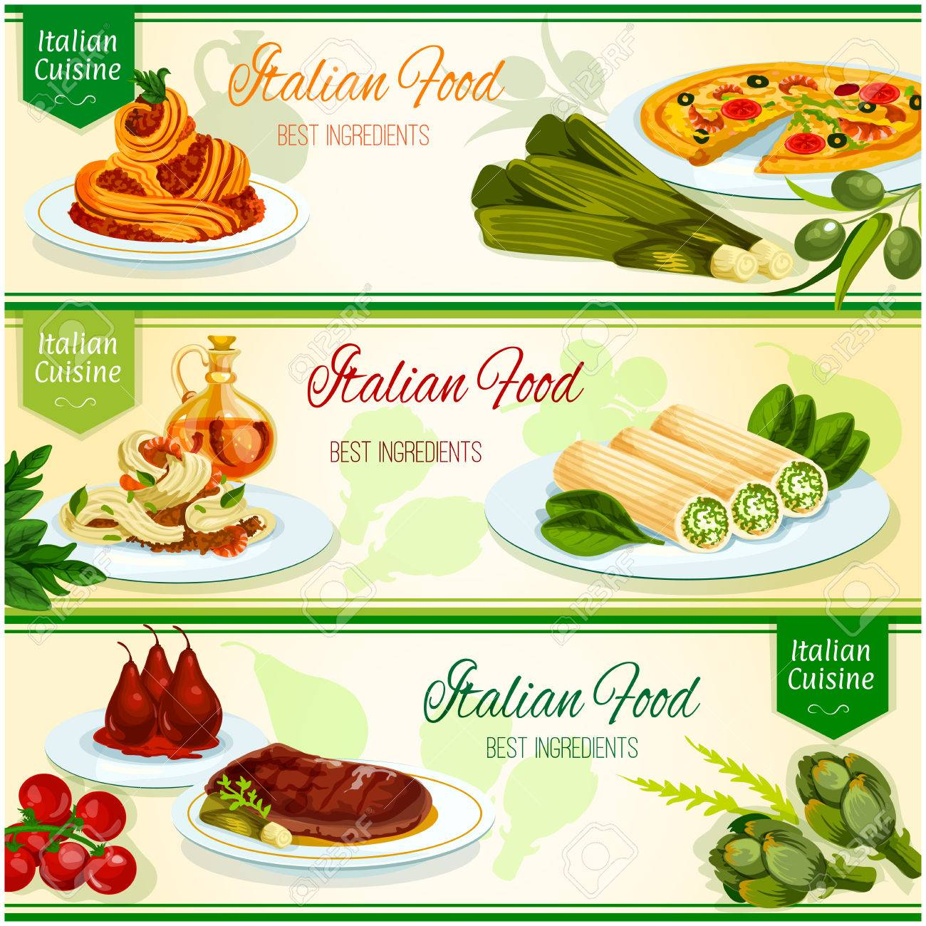 Italienische Küche Banner-Set. Italienisch Meeresfrüchte Pizza Und ...