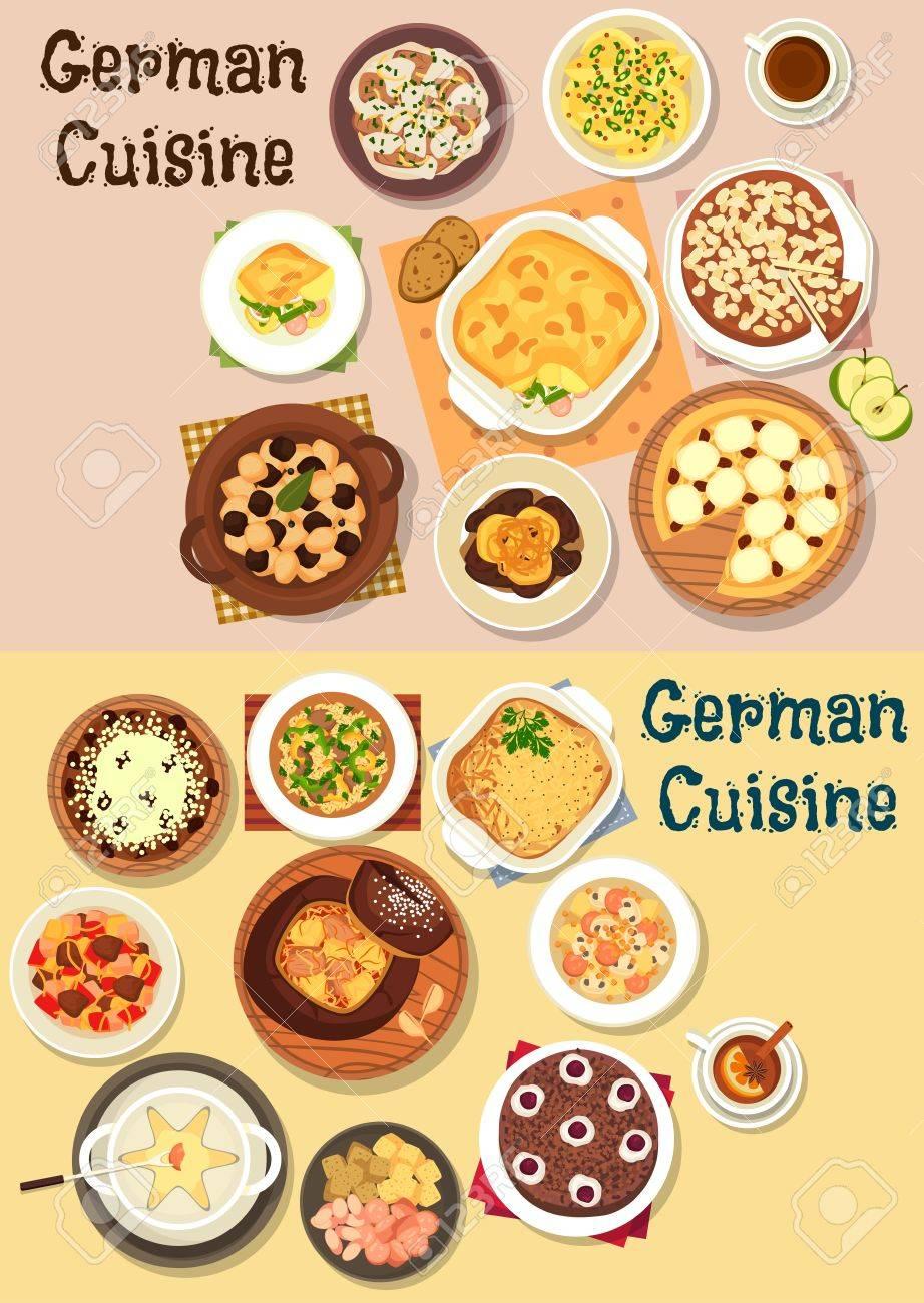 kaesekuchen mit wuerstchen, deutsch küche icon-set mit käse und bier-fondue, fleisch-eintopf, Design ideen