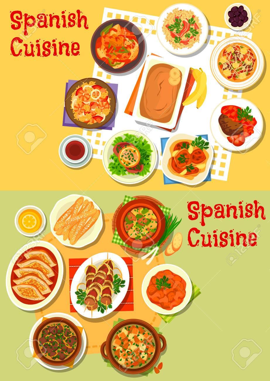 Cocina Española Icono De La Paella De Marisco, Arroz Jamón, Carne Y ...