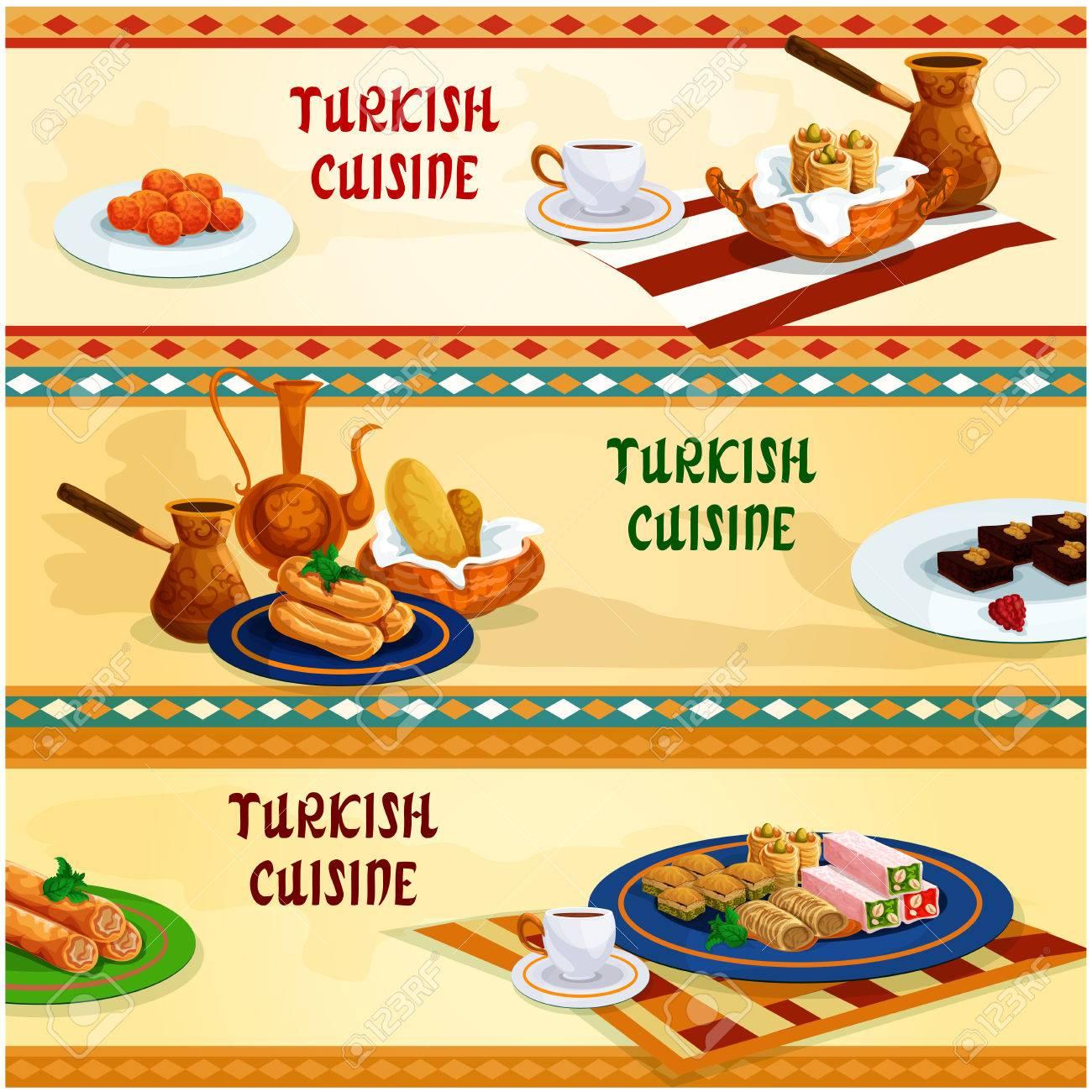 Turkische Kuche Geback Und Sussigkeiten Mit Kaffee Banner Set Nuss
