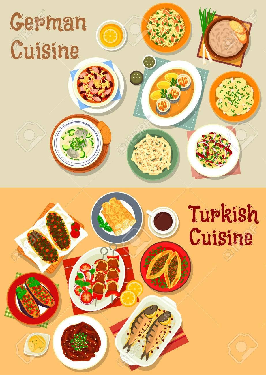 kaesekuchen mit wuerstchen, deutsch und türkische küche symbol mit grillfleisch, schweinefleisch, Design ideen