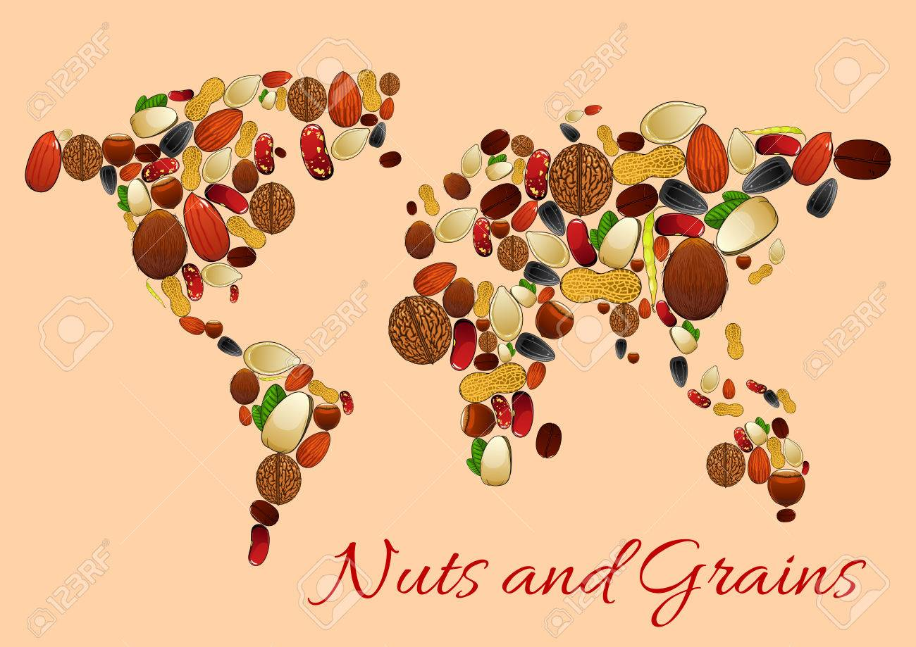 Nuts Seed And Grains World Map Silhouette Poster Peanut Almond - World map silhouette poster