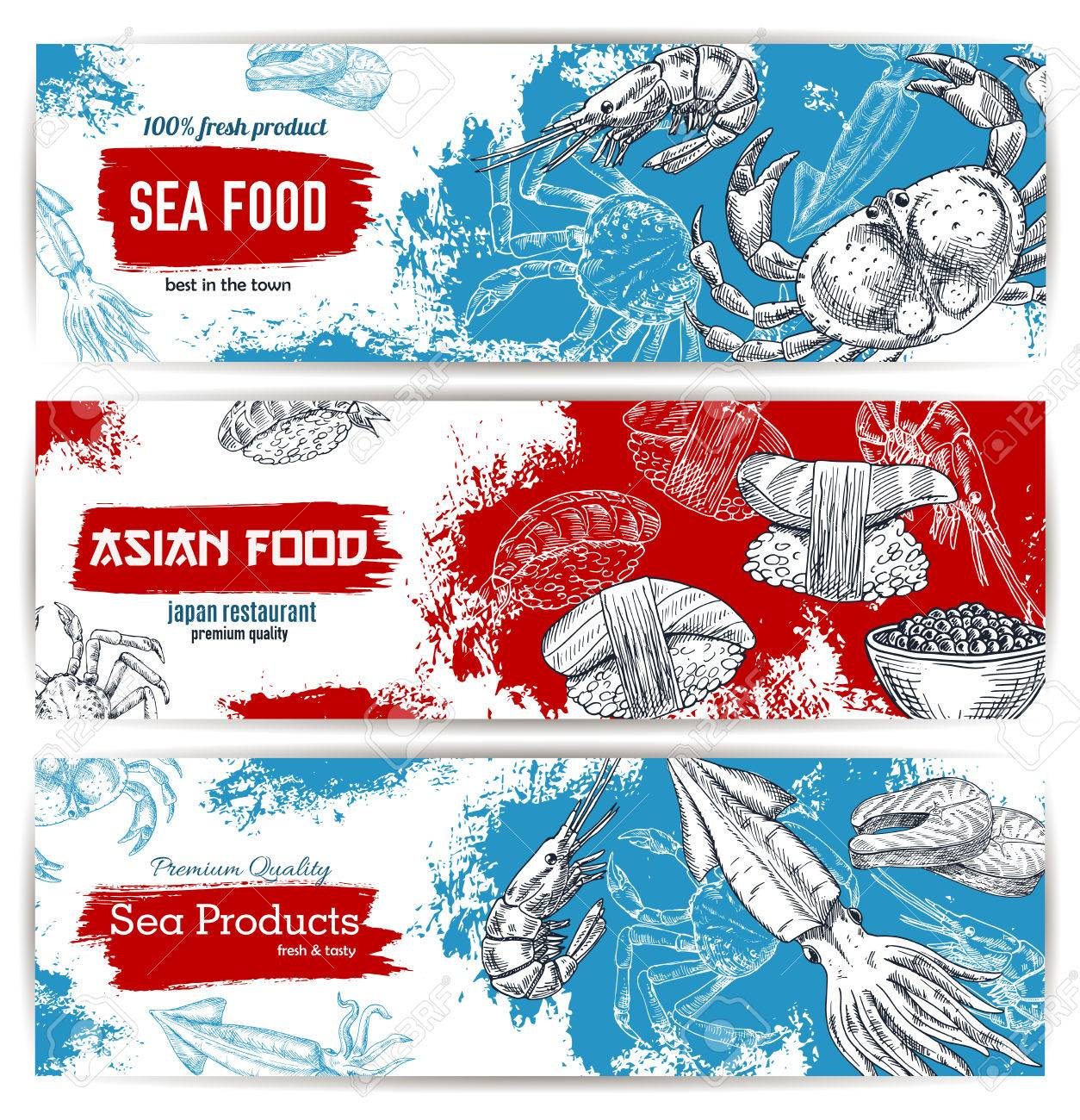 Seafood And Japanese Cuisine Restaurant Menu Banner Set. Fresh ...