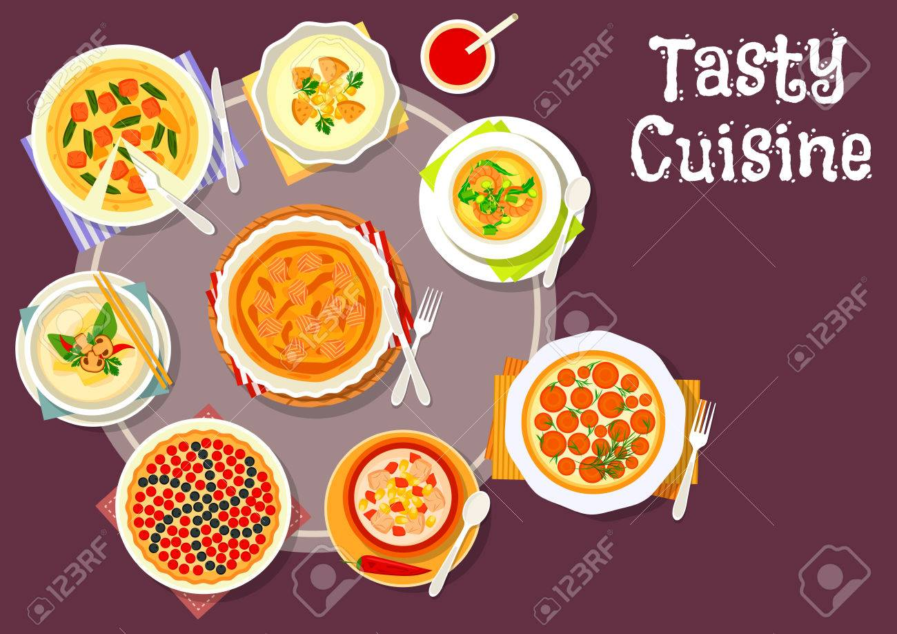 Susse Und Herzhafte Geback Gerichte Mit Suppe Symbol Pflanzlichen