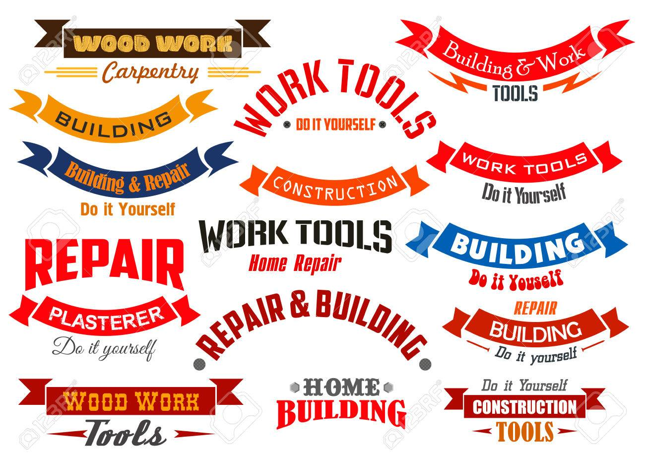 Vector icons and ribbons set for home repair construction vector icons and ribbons set for home repair construction building and carpentry emblems buycottarizona Image collections