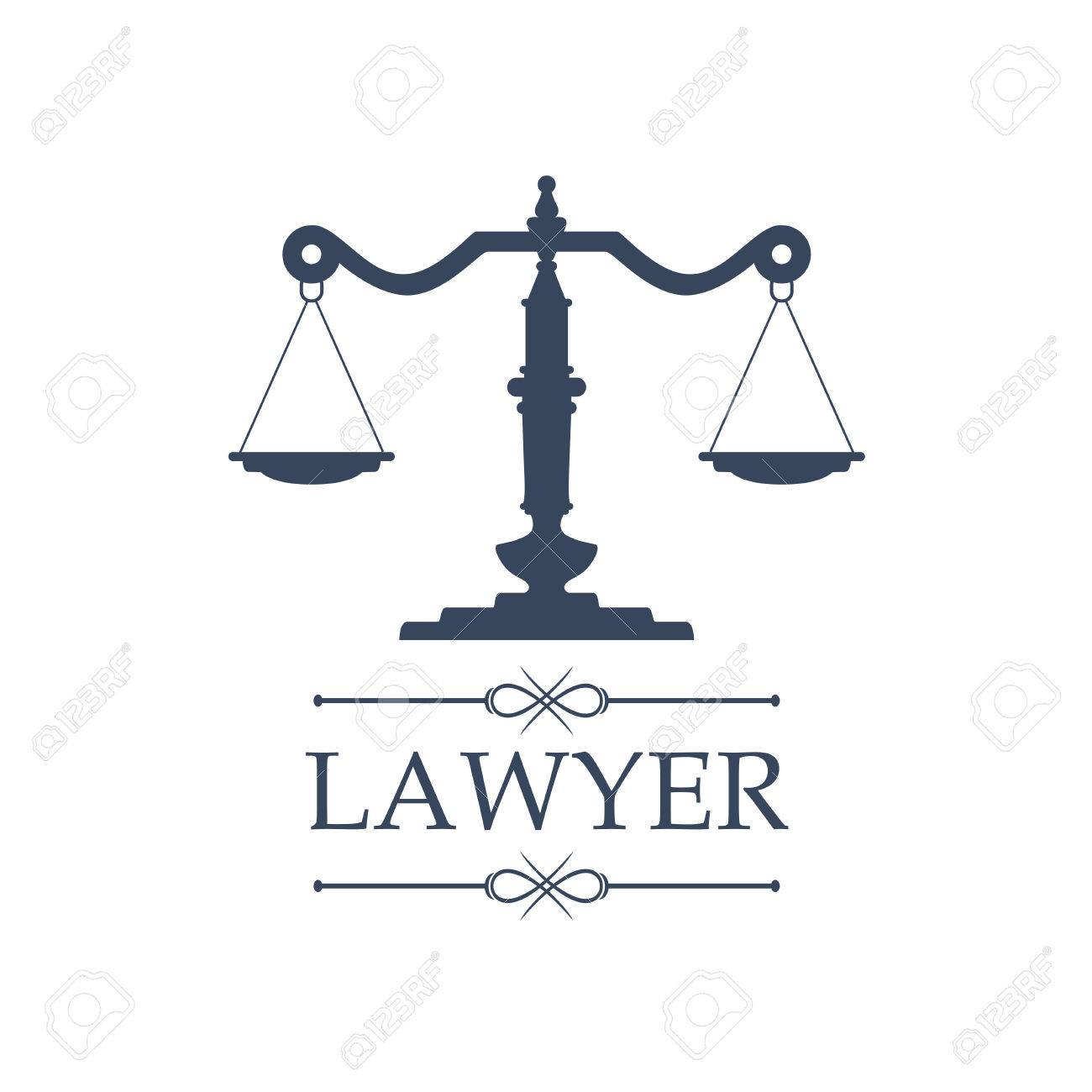 Legal Center Or Law Advocate Icon With Symbol Of Justice Scales