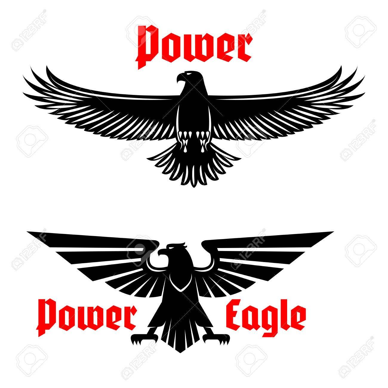 Black eagle vector icons set emblem heraldic symbol of power black eagle vector icons set emblem heraldic symbol of power with vulture or falcon predatory biocorpaavc Images