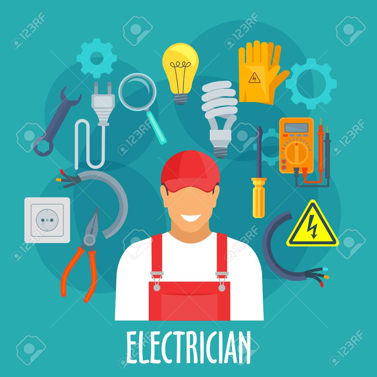 Elektriker Beruf Plakat. Vector Elektriker Mann In Uniform Mit Strom ...