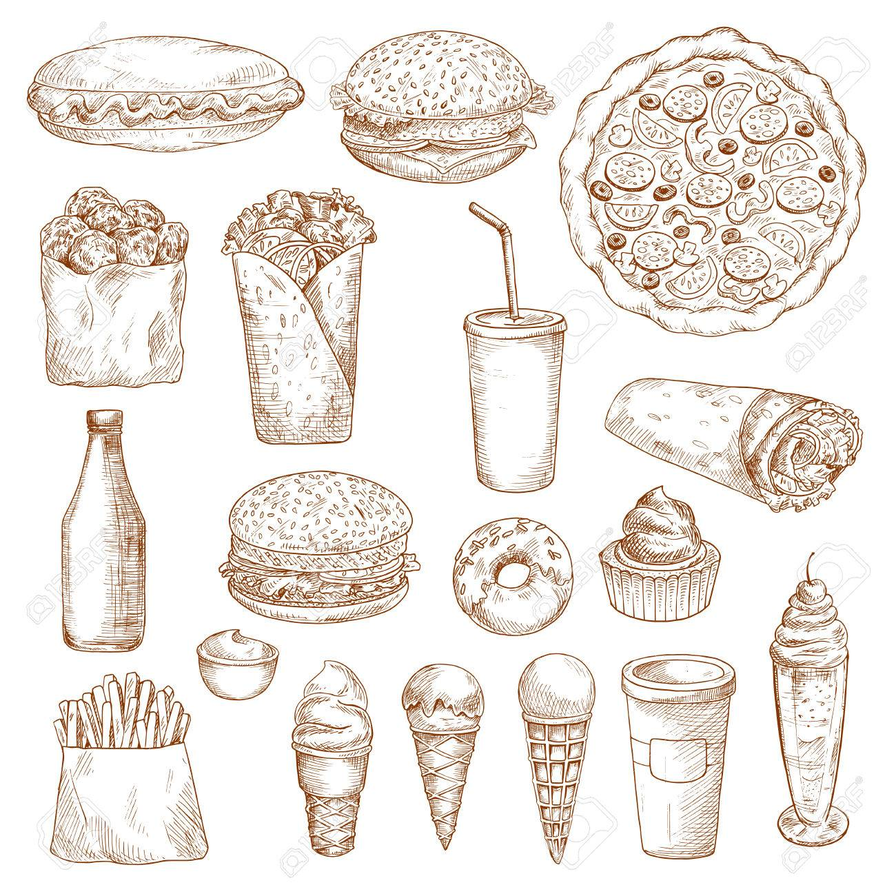 Fast Food Icons Vector Isolated Sketch Hot Dog Cheeseburger