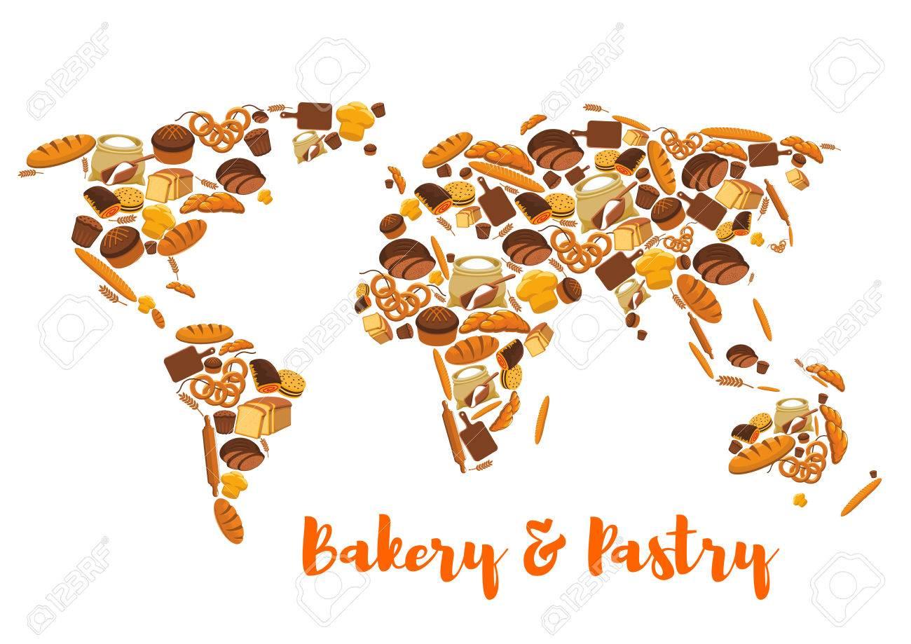 Carte Boulangerie.Pain Carte Du Monde Boulangerie Et Symbole De La Patisserie Ou De