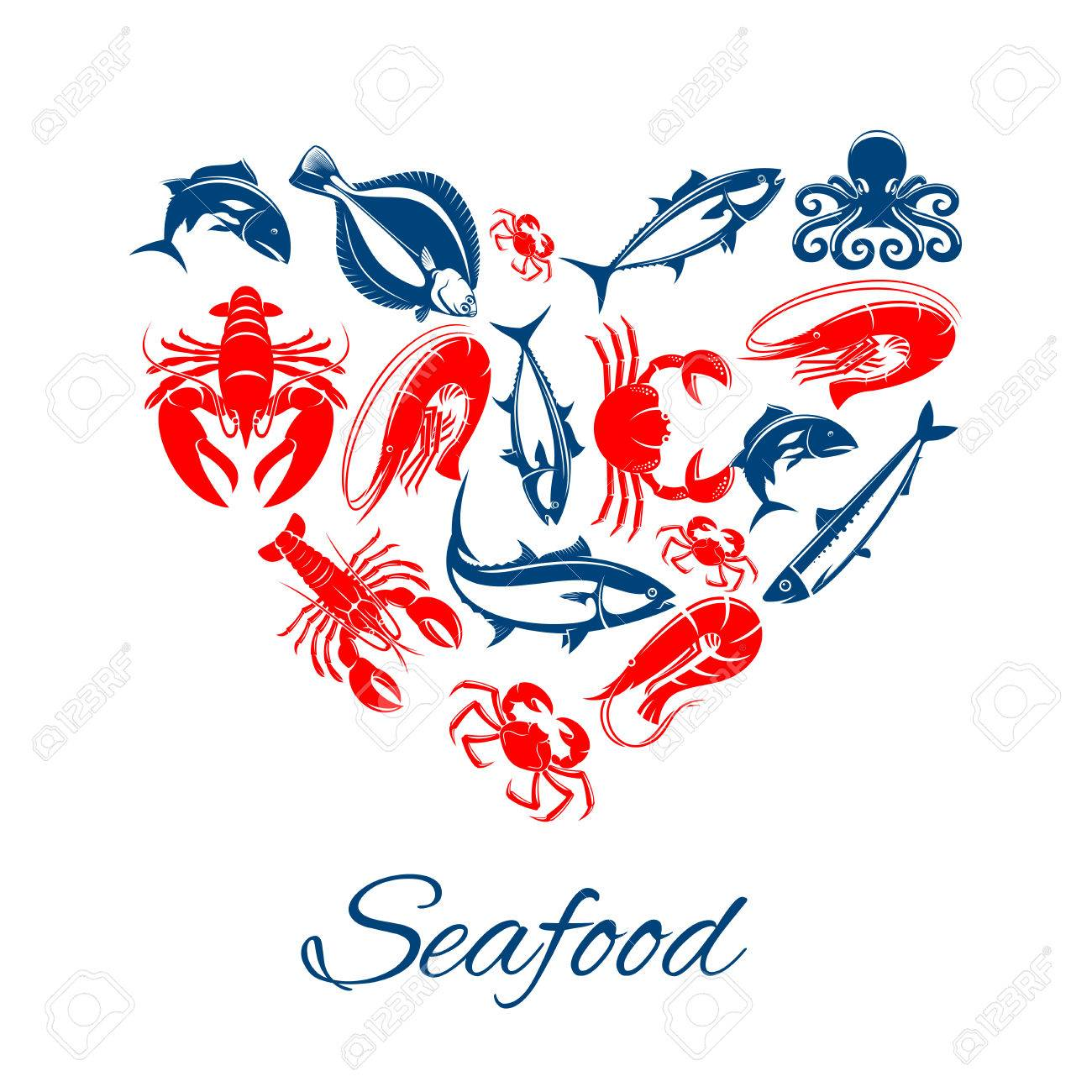 Seafood vector poster designed in heart shape of sea food fish seafood vector poster designed in heart shape of sea food fish shrimp and squid crab lobster tuna and salmon or trout herring and octopus with flounder biocorpaavc Choice Image