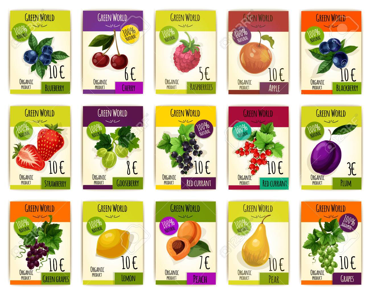 Fruits tags or cards with price. Vector set of fresh harvest of organic fruits blueberry, cherry and raspberry, apple, blackberry and strawberry, gooseberry, black and red currant, plum and grape, lemon and apricot with pear for farm market or shop - 69602634