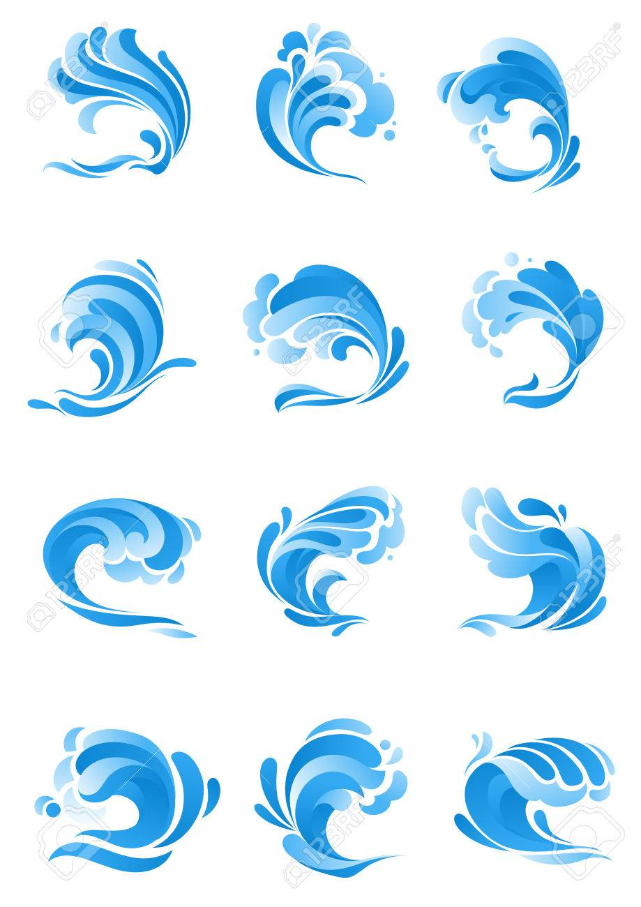 Waves Icons Vector Isolated Symbols Of Ocean Or Sea Blue Water