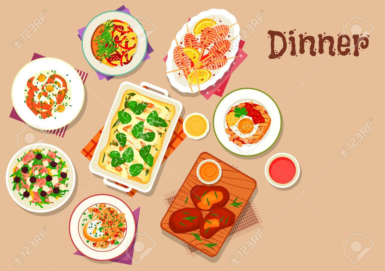 Dinner Menu Icon Of Baked Pasta With Cheese Sausage Omelette