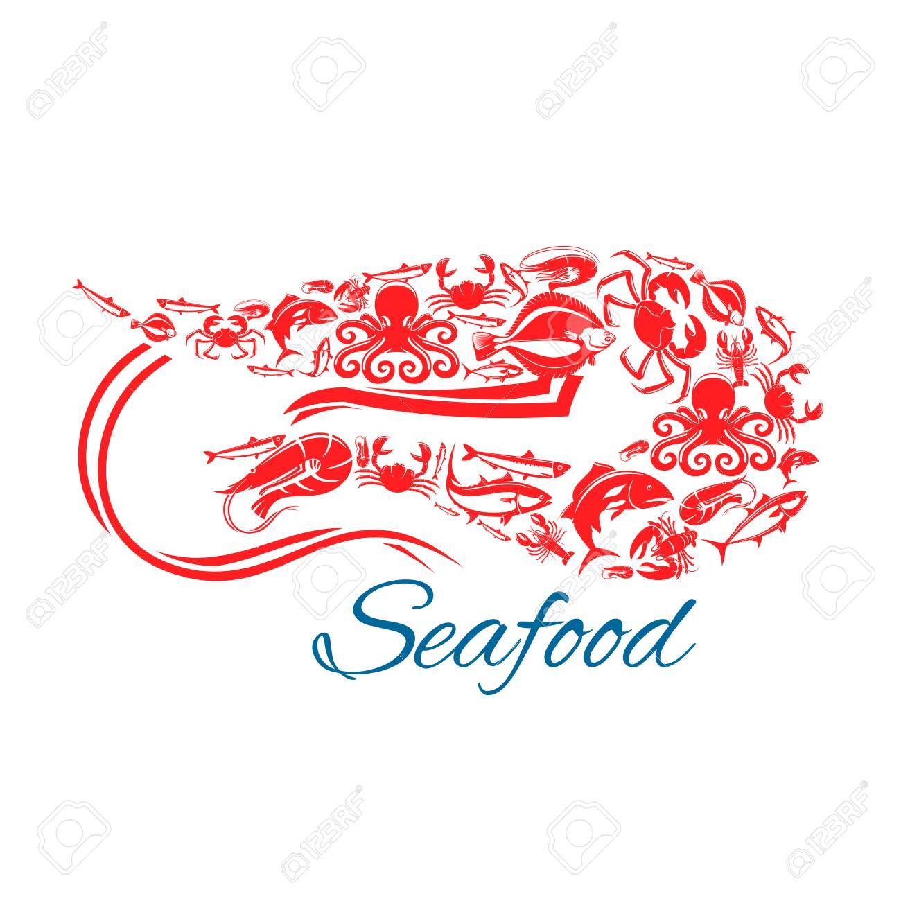 Shrimp seafood poster vector symbol of sea and ocean fish food vector symbol of sea and ocean fish food crab lobster flounder biocorpaavc Choice Image