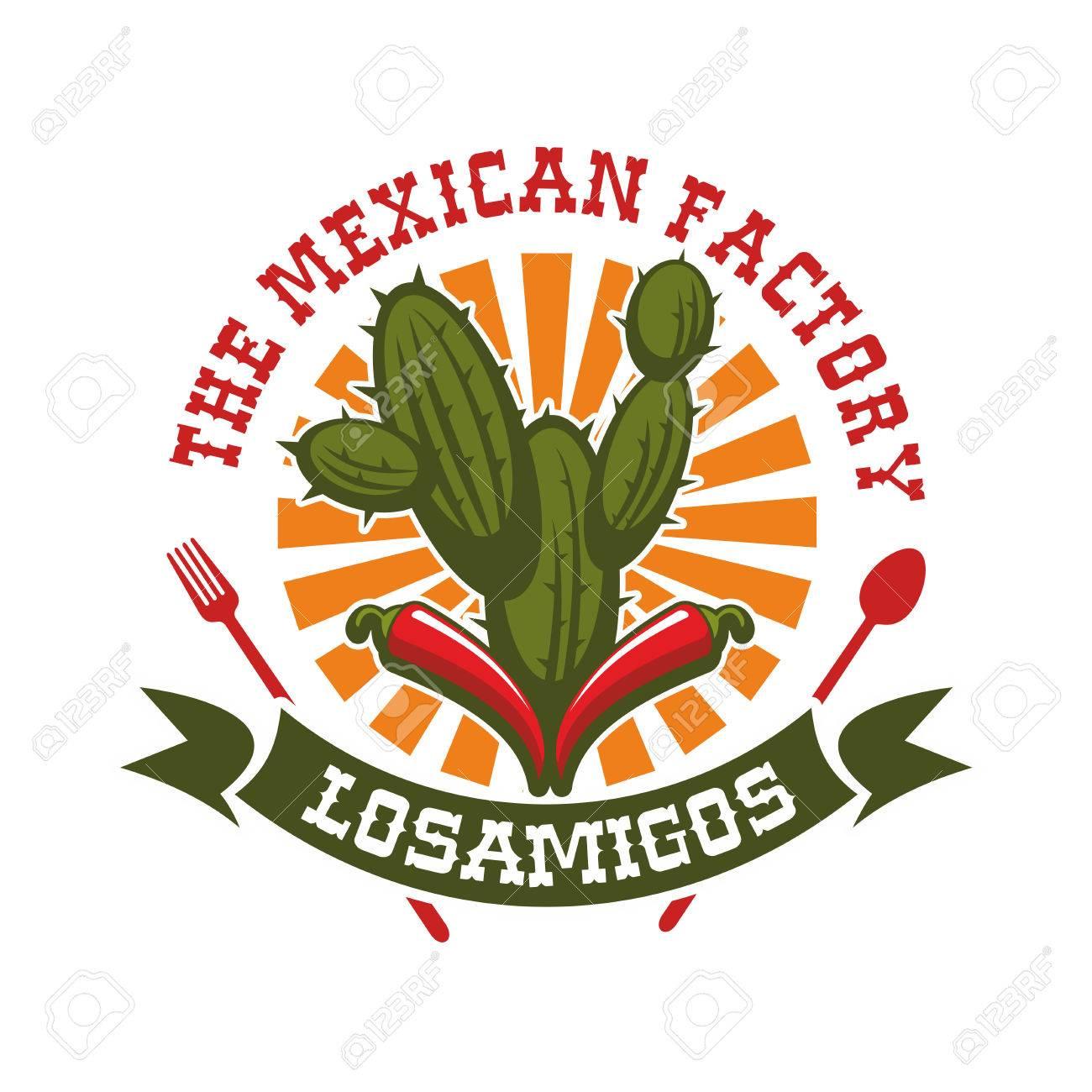 Mexikanische Küche Restaurant Emblem. Vector Isoliert Symbol Für ...