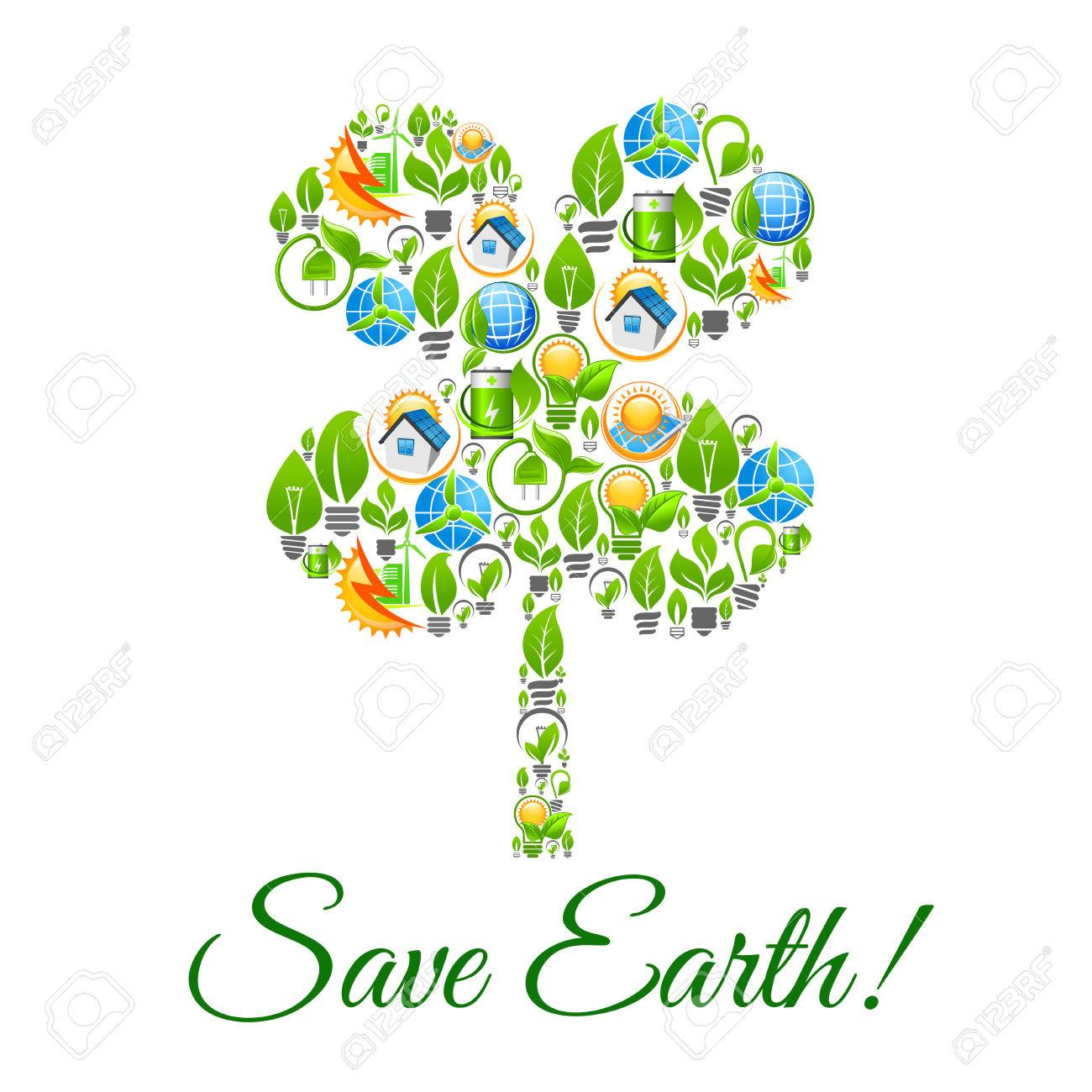 Save earth poster with clover leaf symbol ecology and nature save earth poster with clover leaf symbol ecology and nature conservation and pollution protection biocorpaavc Images
