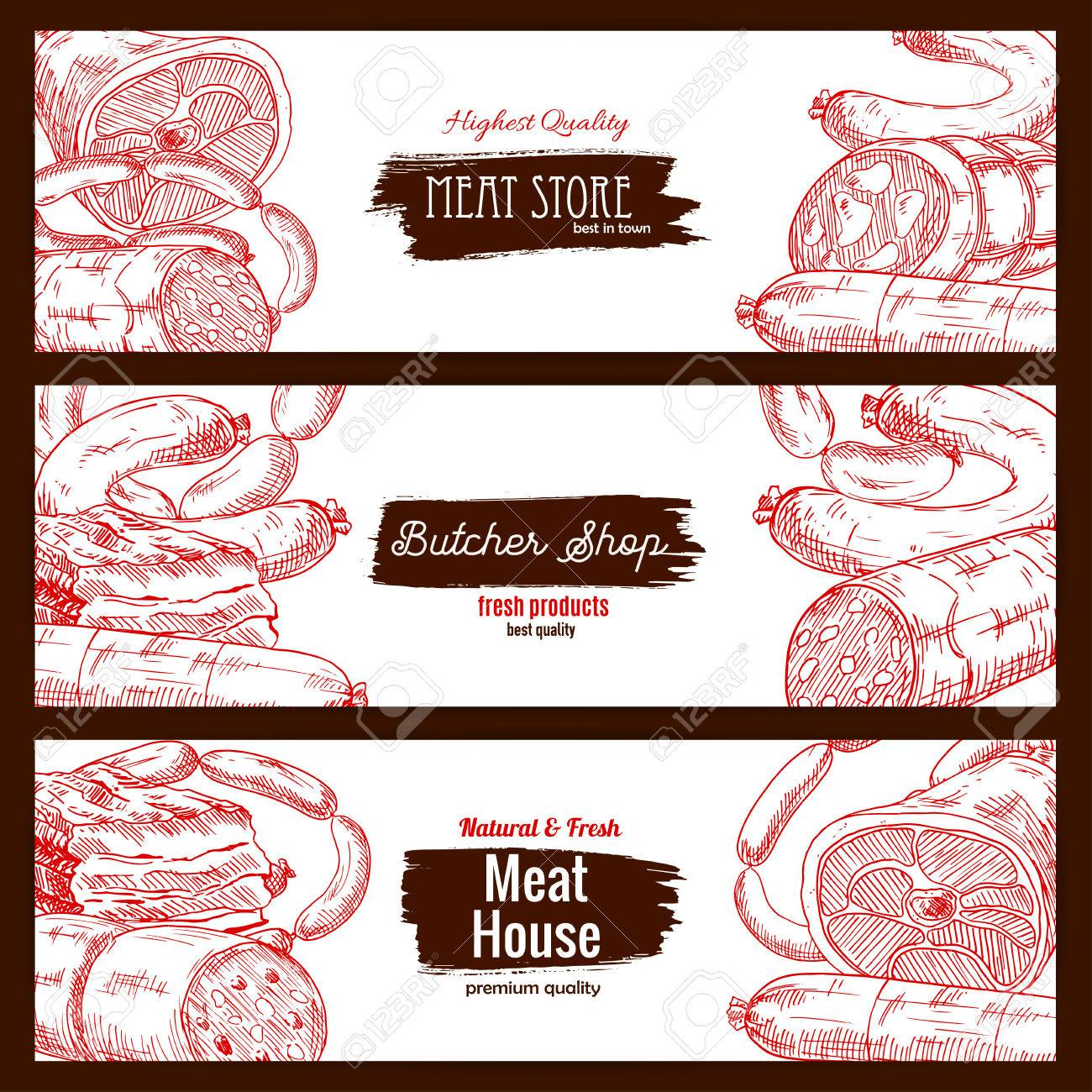 Meat store or butcher shop products. Butchery house banners set of sketch salami, pepperoni and kielbasa wurst sausages, pork bacon and ham jamon, beef or veal meat loaf piece of fresh or smoked meaty lard delicatessen - 70051910