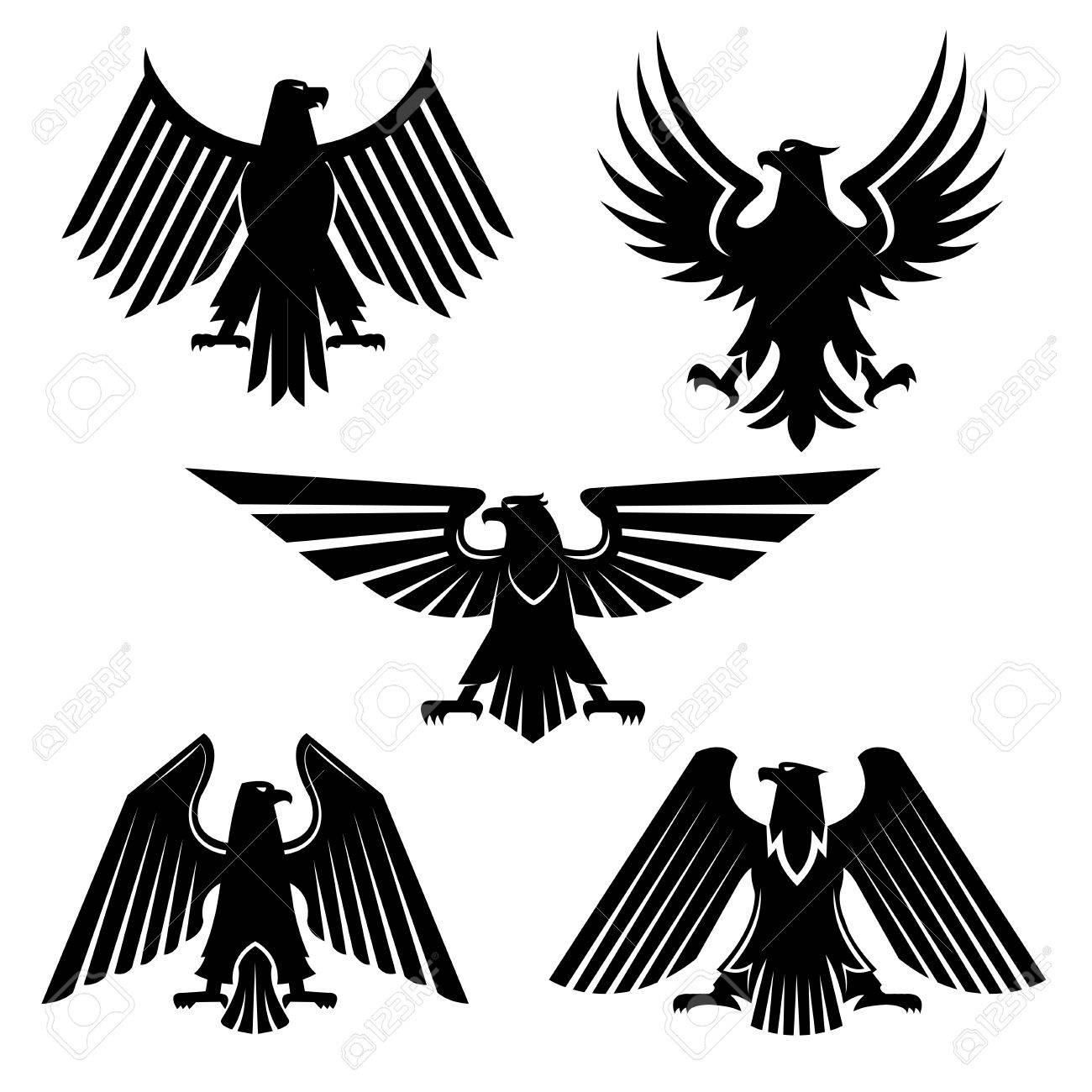 Aigle Heraldique Ou Oiseau De Proie Ensemble D Icones Silhouette De