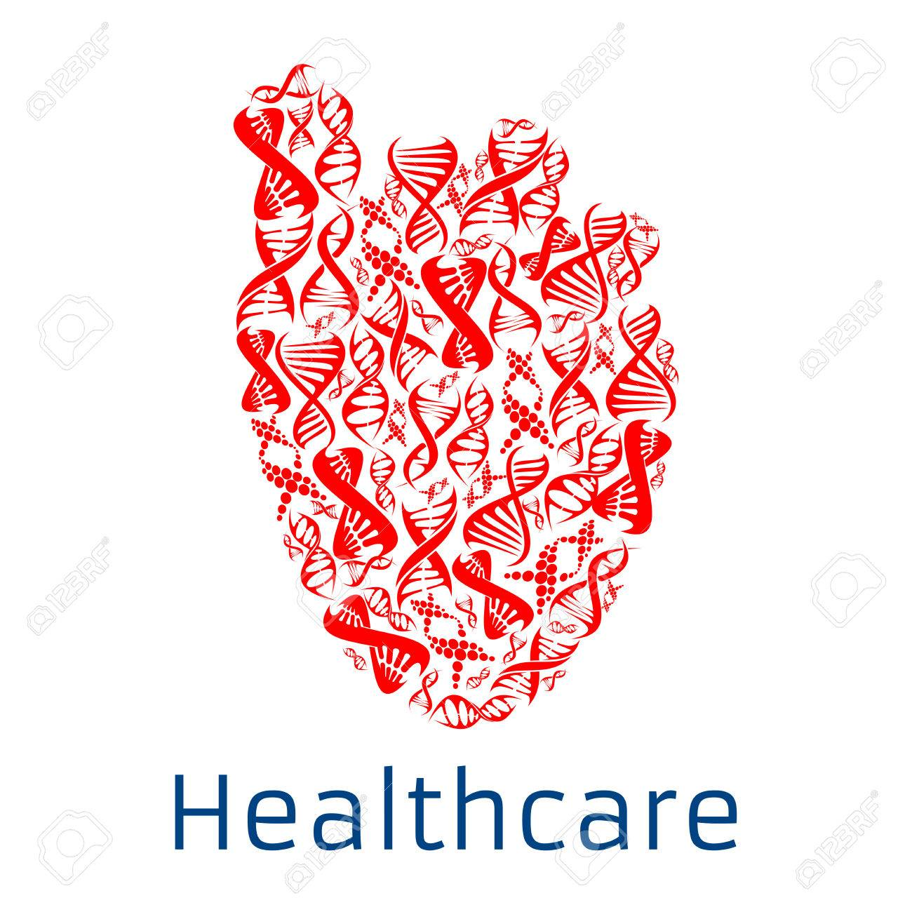 Heart Shape Symbol Combined Of Human Dna Helix Healthcare Poster