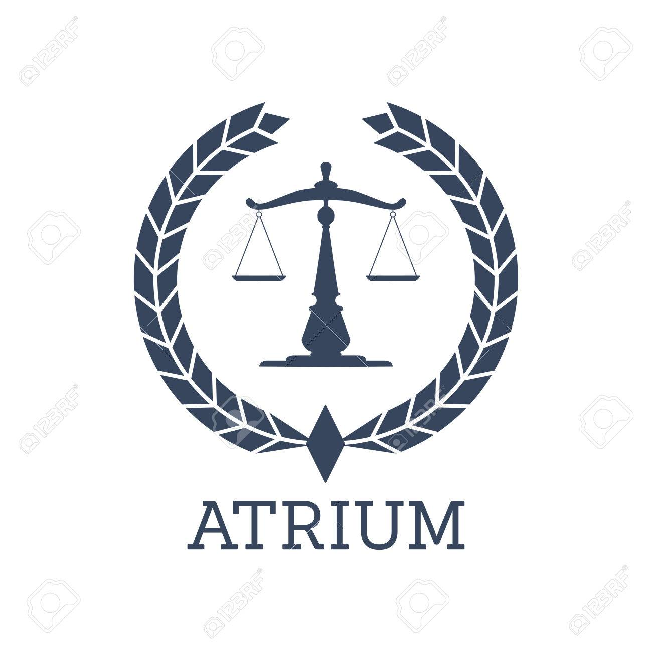 Juridical Or Legal Center Or Company Icon Atrium Emblem With Scales