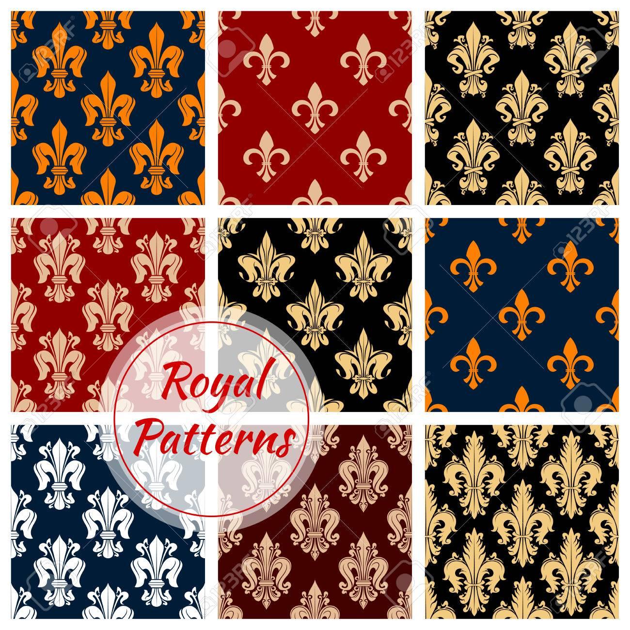Floral Fleur De Lis Ornement Patterns Royal Fixes Vecteur Epanouir