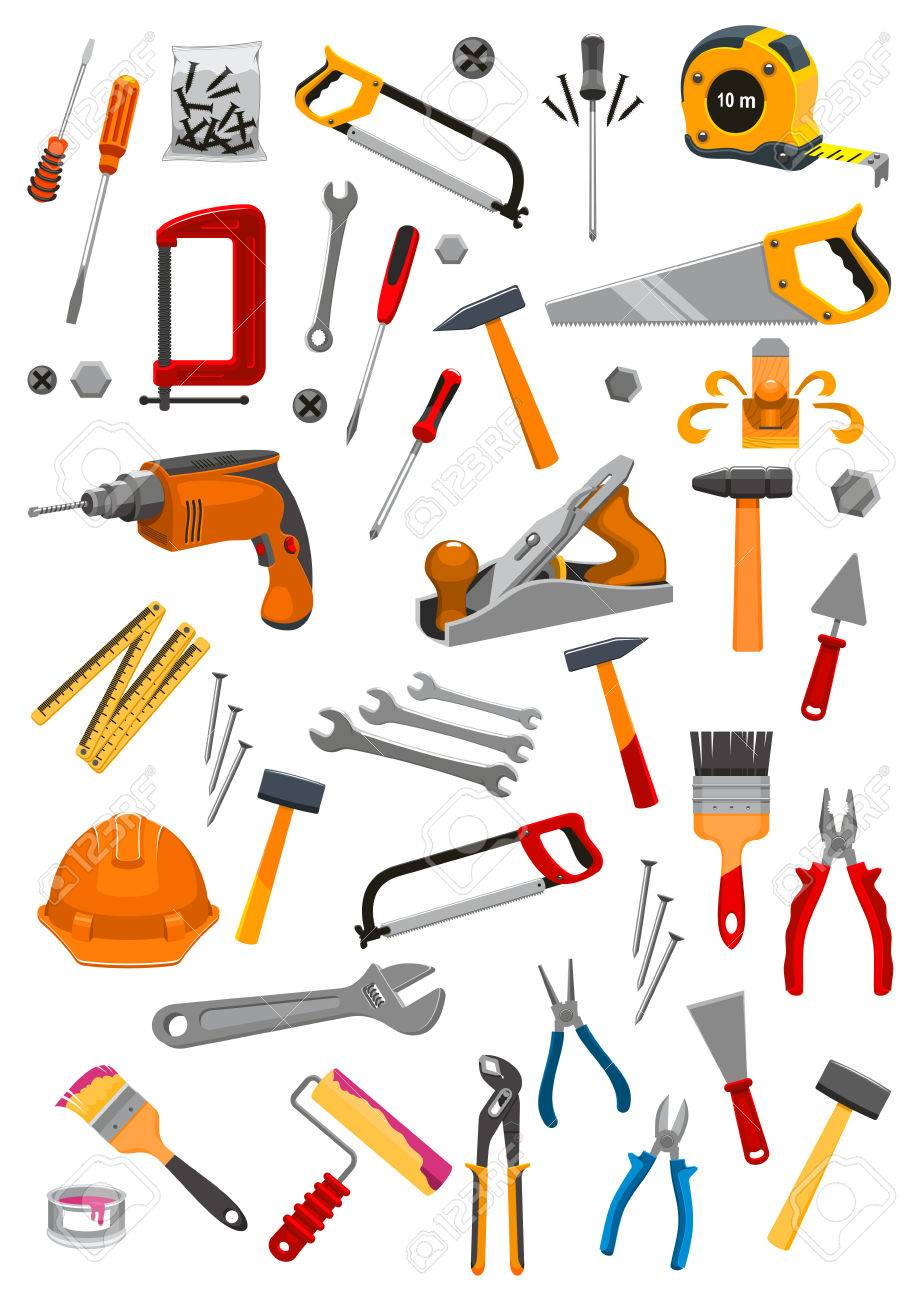 Work Tools Icons Set Of Vector Isolated Instruments For Repair, Carpentry,  Building And Home