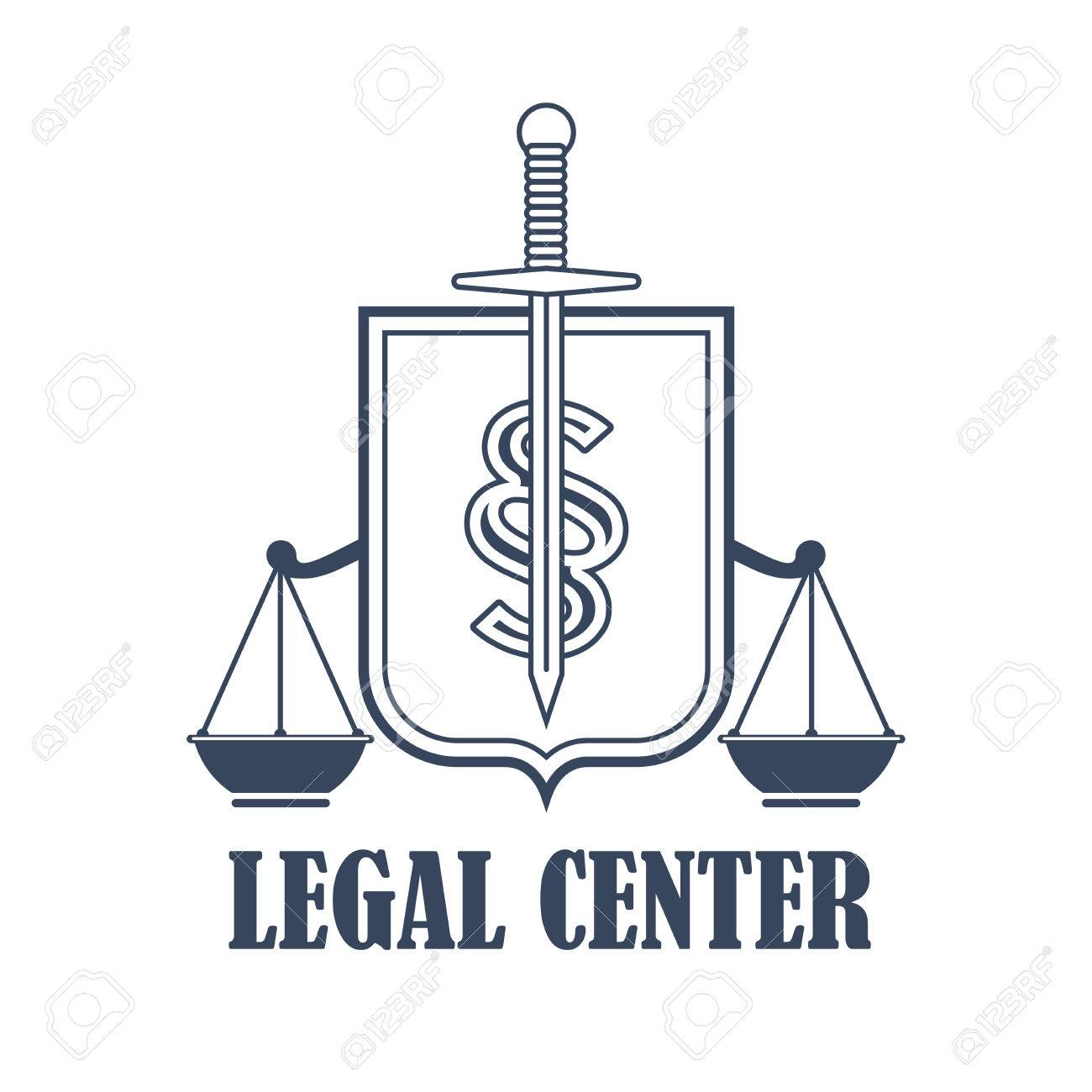 Advocacy Juridical Icon Or Legal Center Emblem For Advocate Or