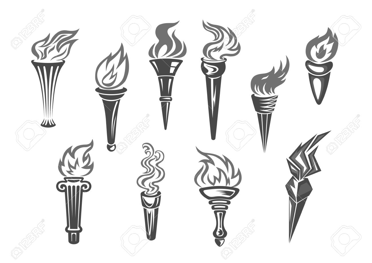 Olympic Flame Or Fire Torch Icons. Vector Set Of Isolated Burning ... for Olympic Torch Fire  61obs