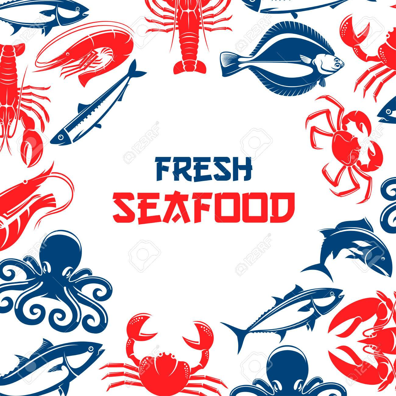 Poster For Seafood And Fish Food Restaurant Or Industry With Shrimp Crab Lobster Tuna