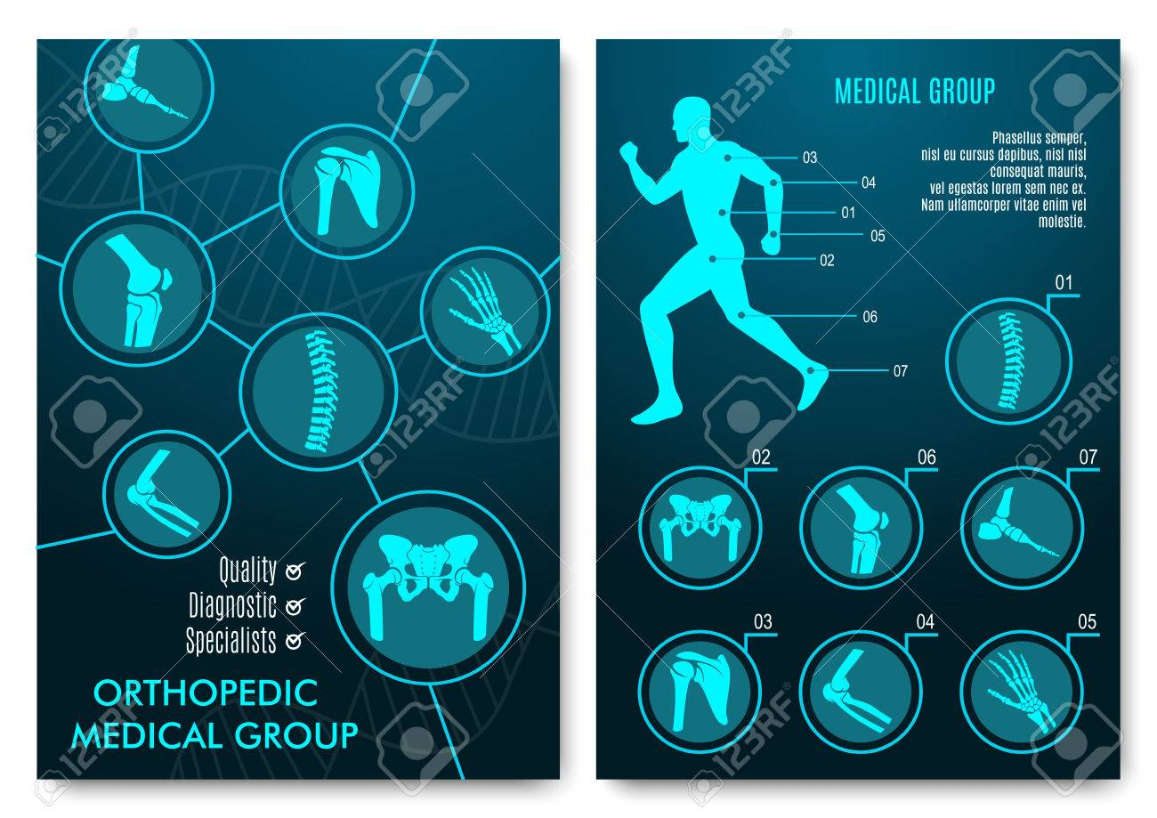 Medical Infographic With Orthopedic Anatomy Charts. Human Silhouette ...