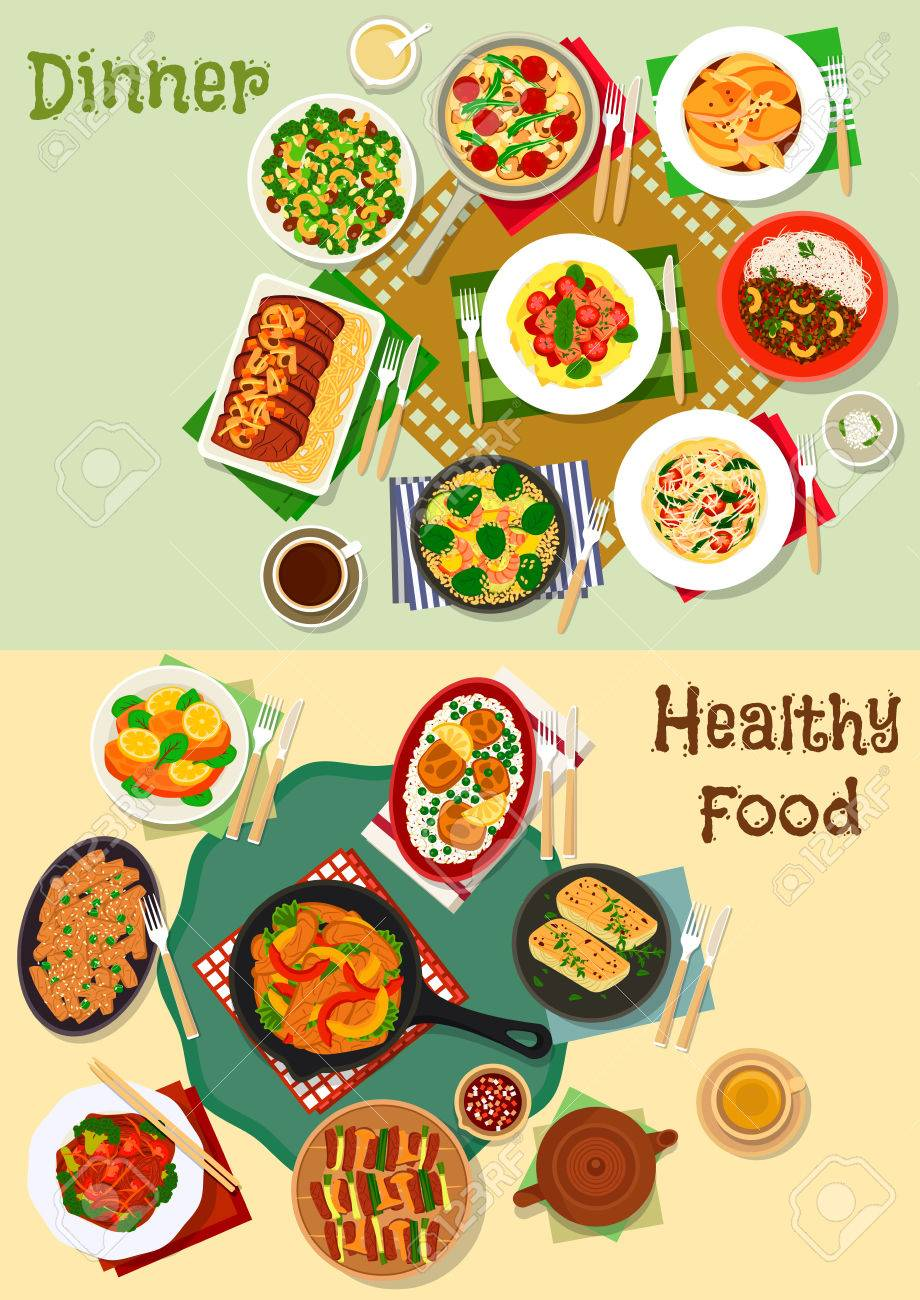 Hearty Dishes Of Dinner Menu Icon Set With Grilled Meat And