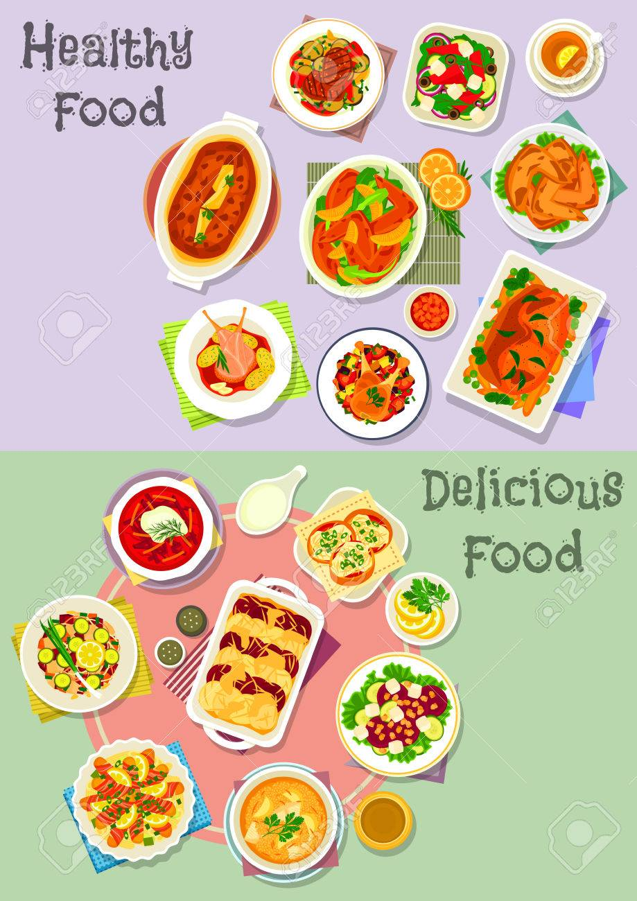 Hearty Dishes Icon Set With Vegetable Fruit Salad With Cheese