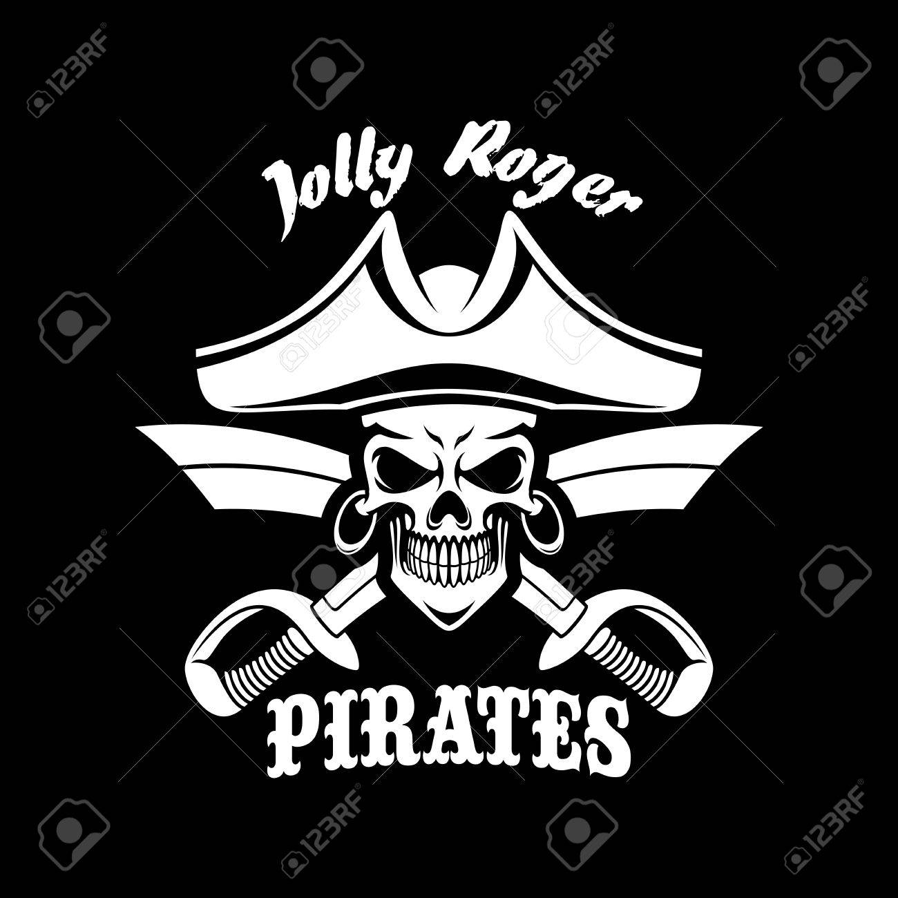 Piracy symbol of skeleton skull in tricorn or tricorne captain piracy symbol of skeleton skull in tricorn or tricorne captain sailor hat and crossed swords or buycottarizona Images