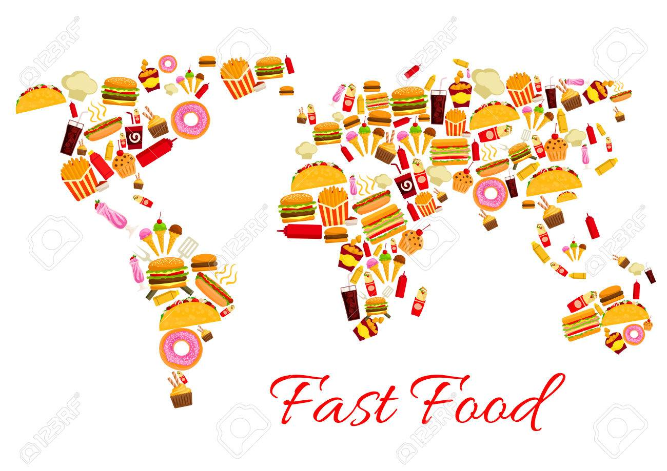 World map of fast food snacks vector continents of cheeseburger vector world map of fast food snacks vector continents of cheeseburger burger and pizza french fries and hot dog sandwich hamburger gyros burrito or gumiabroncs Choice Image