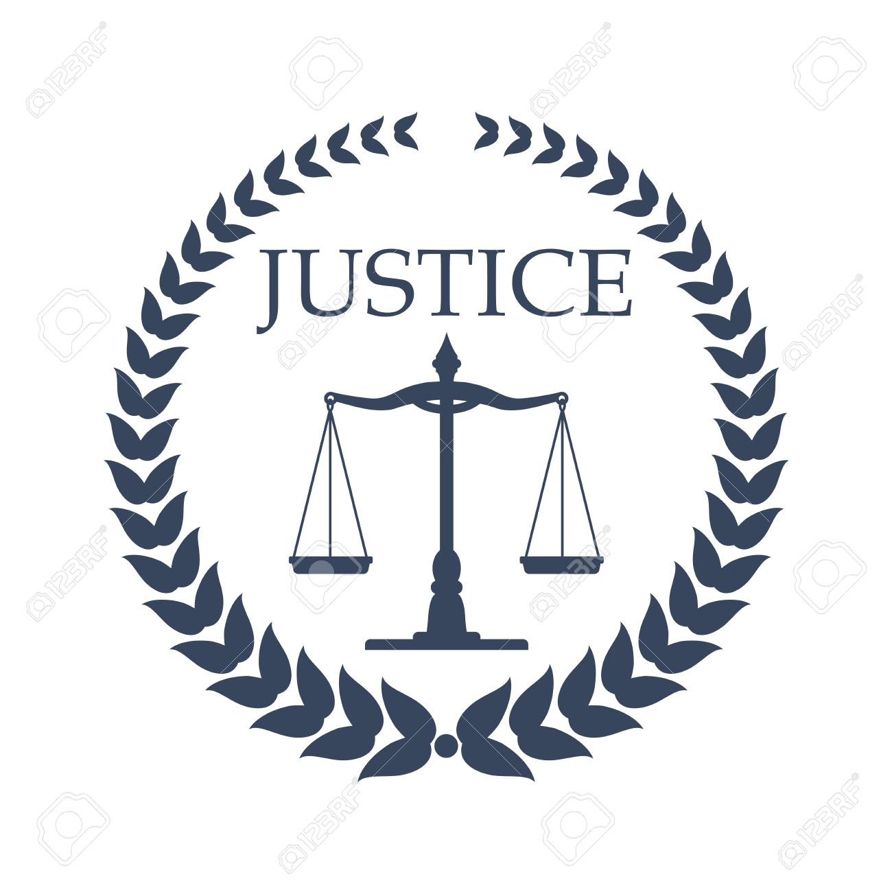 Law firm, lawyer or law office symbol. Scales of justice, framed by heraldic laurel wreath. Lawyer card, law firm logo, legal center emblem design - 71509494