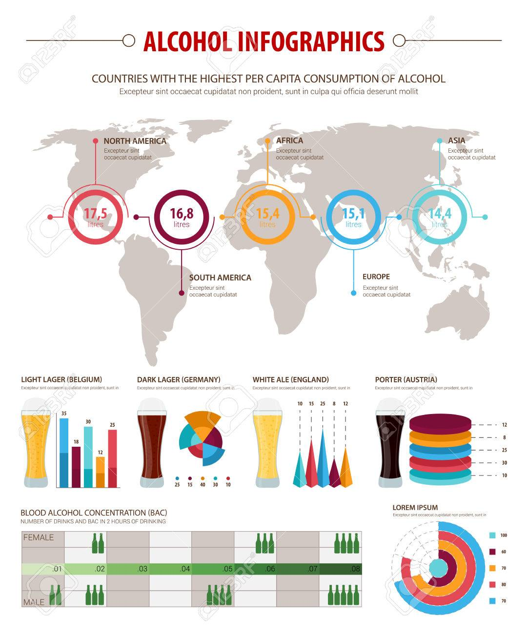 Alcohol infographic set design world map of alcohol consumption alcohol infographic set design world map of alcohol consumption per capita bar graph and gumiabroncs Gallery