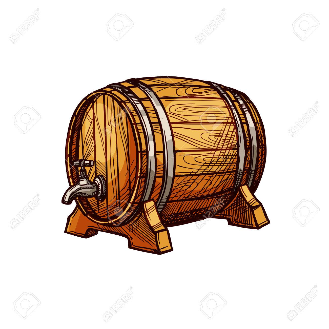 Holzfass Bier Oder Wein Skizze. Alte Eichenfass Mit Einem Hahn Auf ...