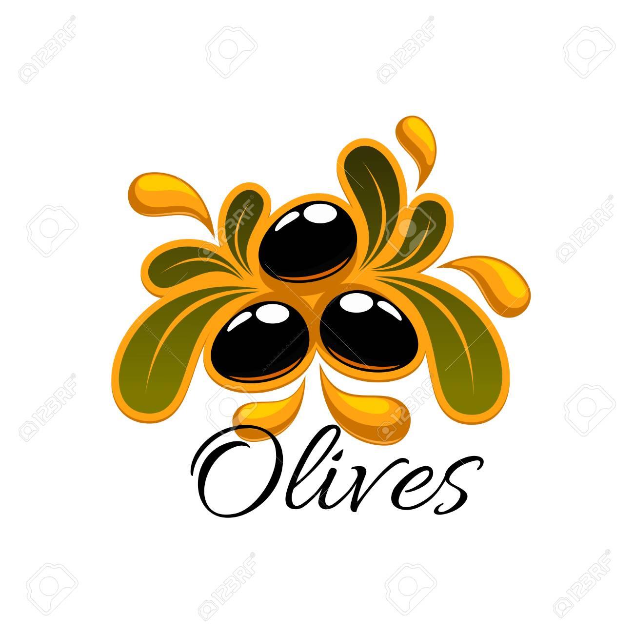 Olive fruit symbol black fruit of olive tree with leaves and olive fruit symbol black fruit of olive tree with leaves and splashes of oil buycottarizona Choice Image