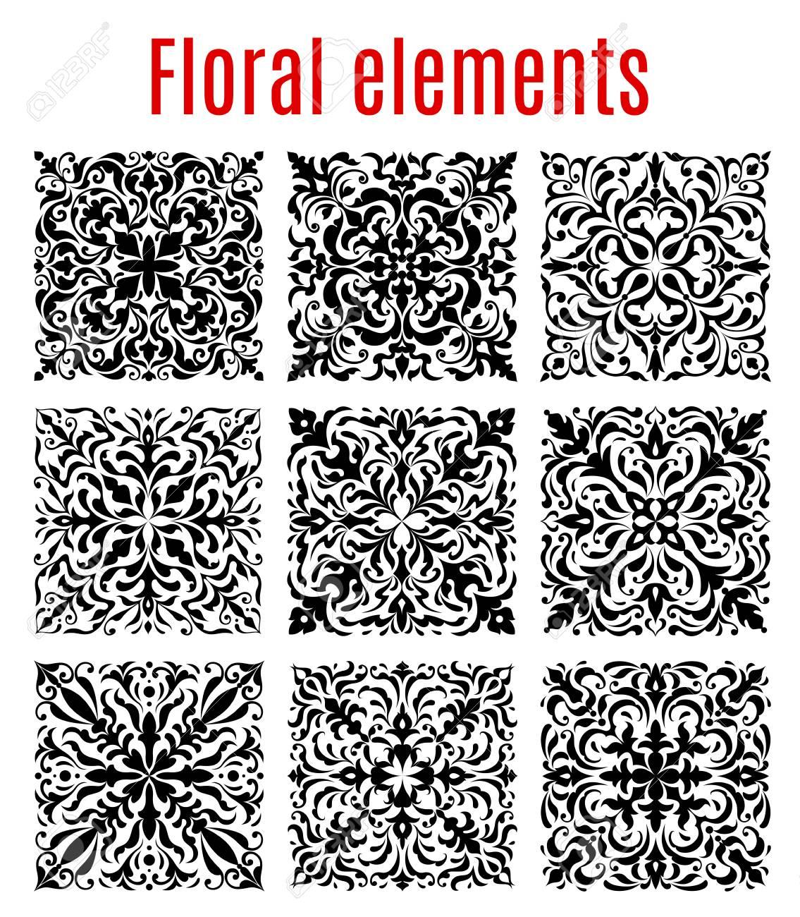 Floral tiles and flourish ornament borders of damask or flowery floral tiles and flourish ornament borders of damask or flowery vector elements vector baroque ornamental jeuxipadfo Gallery