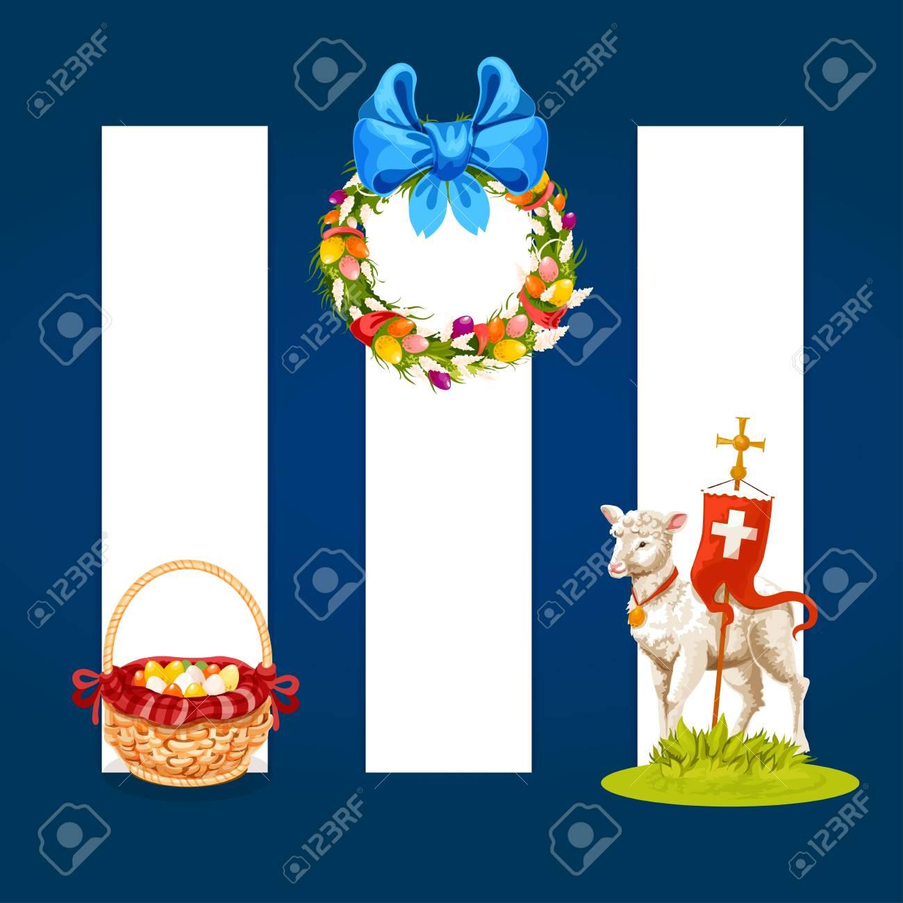 Easter Spring Holiday Cartoon Banner Set Easter Egg Hunt Basket