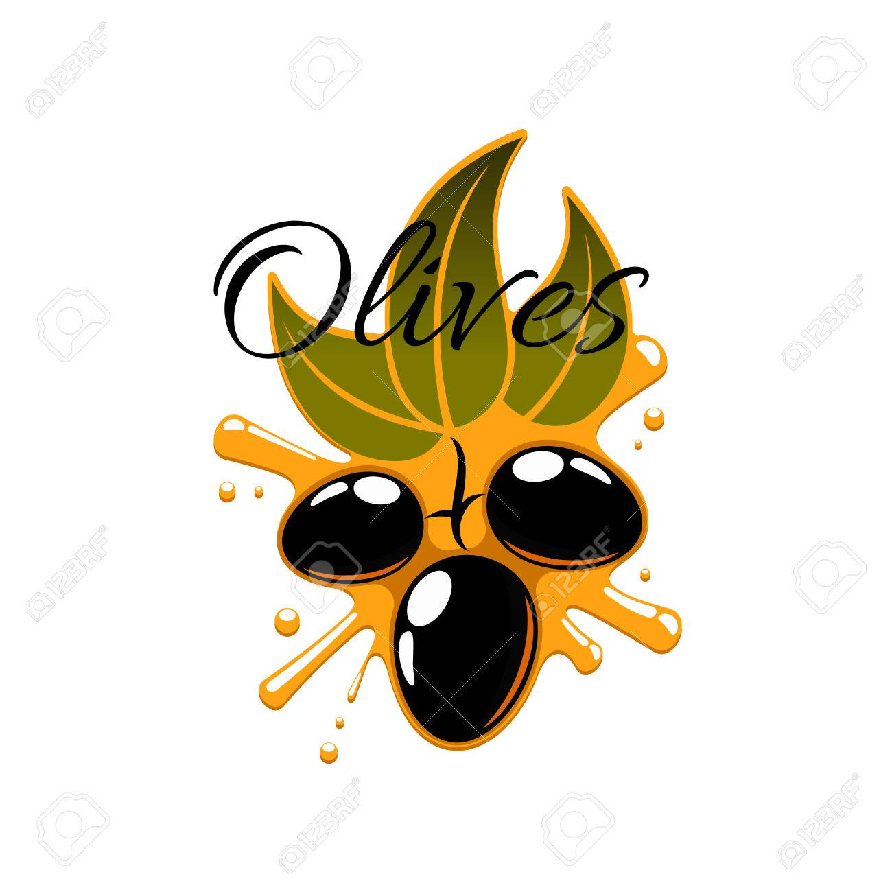 Olive Oil Splash And Fresh Flack Olives Vector Icon Of Olive Tree
