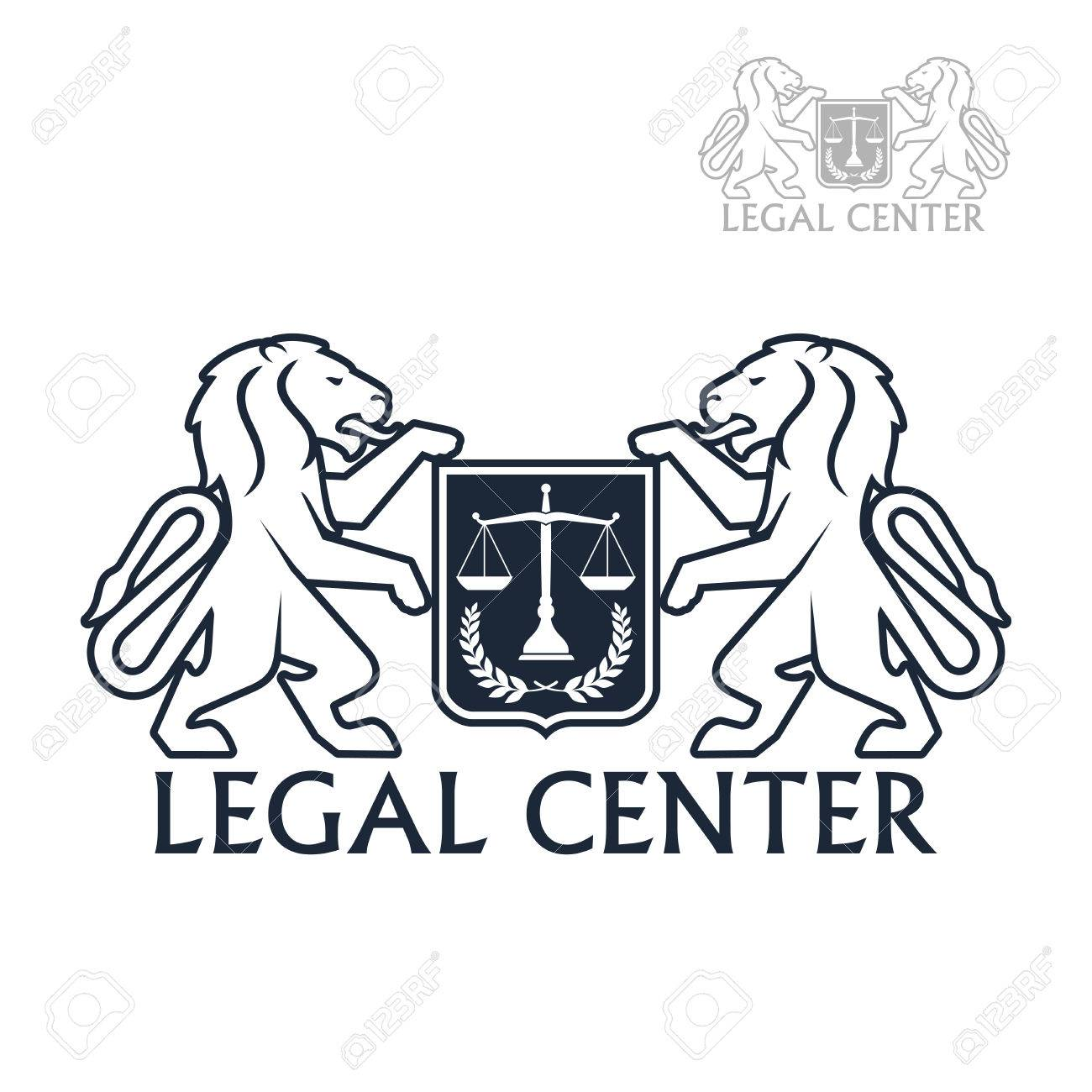 Advocacy And Law Legal Center Vector Icon With Symbols Of Heraldic