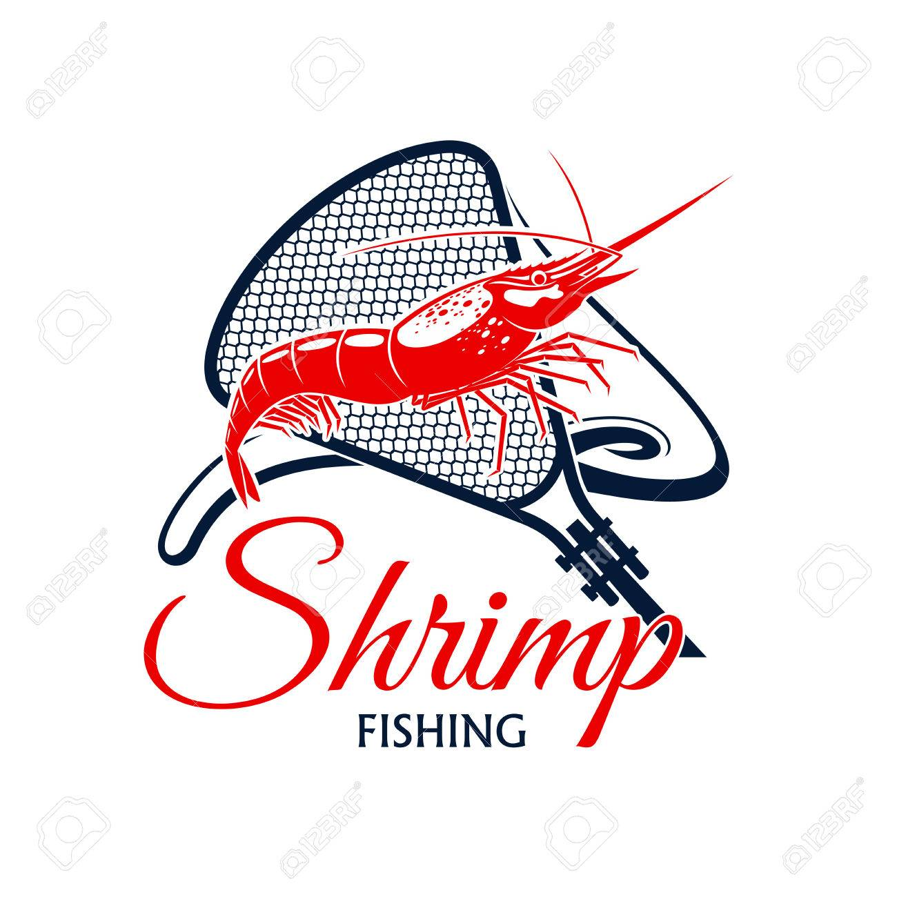 Shrimp fishing vector icon with fishnet snare or scoop-net grid
