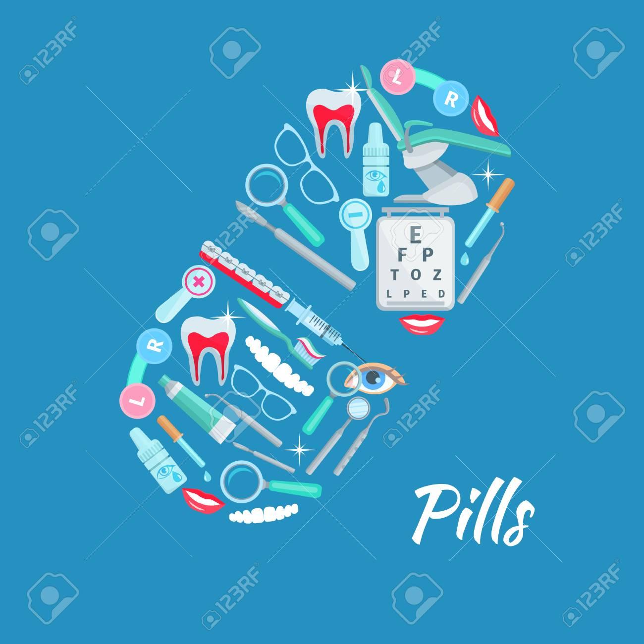 Affiche médicale d articles médicaux de soins dentaires et d ophtalmologie  comme miroir et 924906555ca6