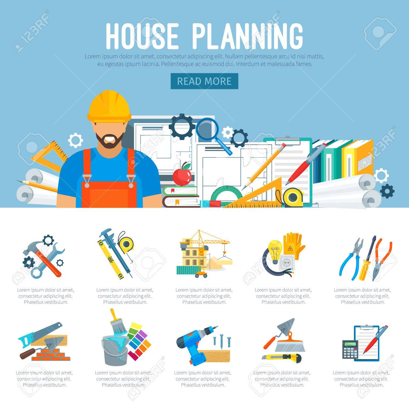 Building or house construction and repair planning infographics
