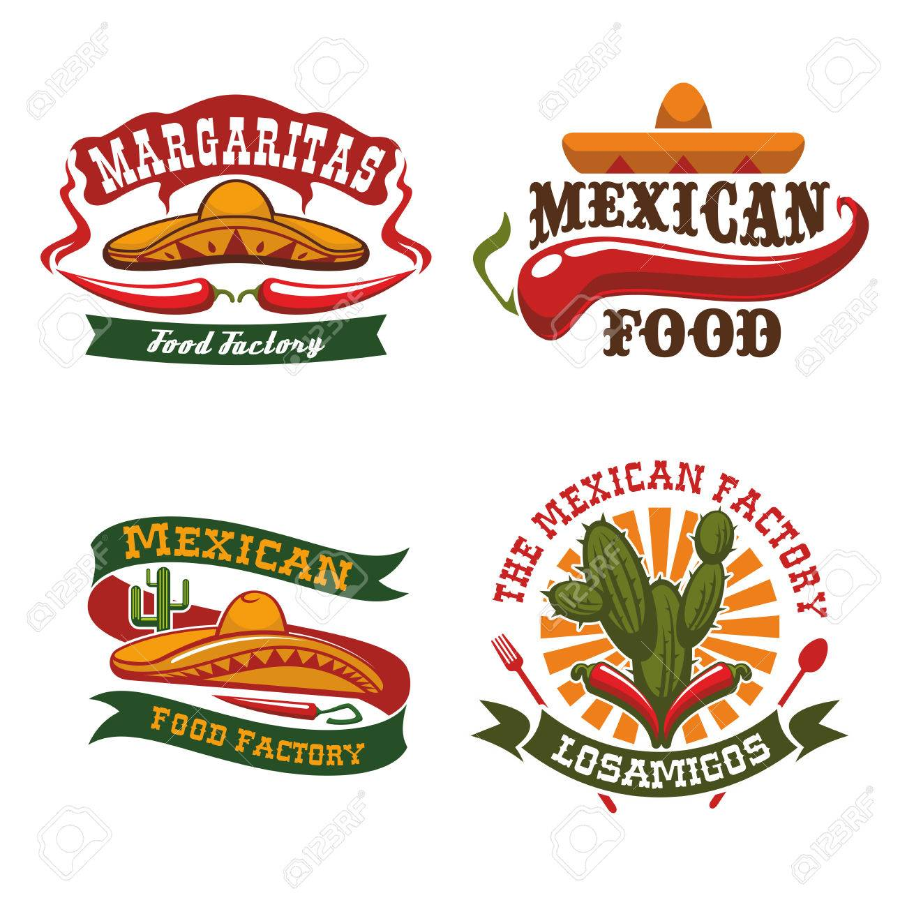 3a28b0aeaed54 Foto de archivo - Iconos de cocina mexicana sombrero de sombrero